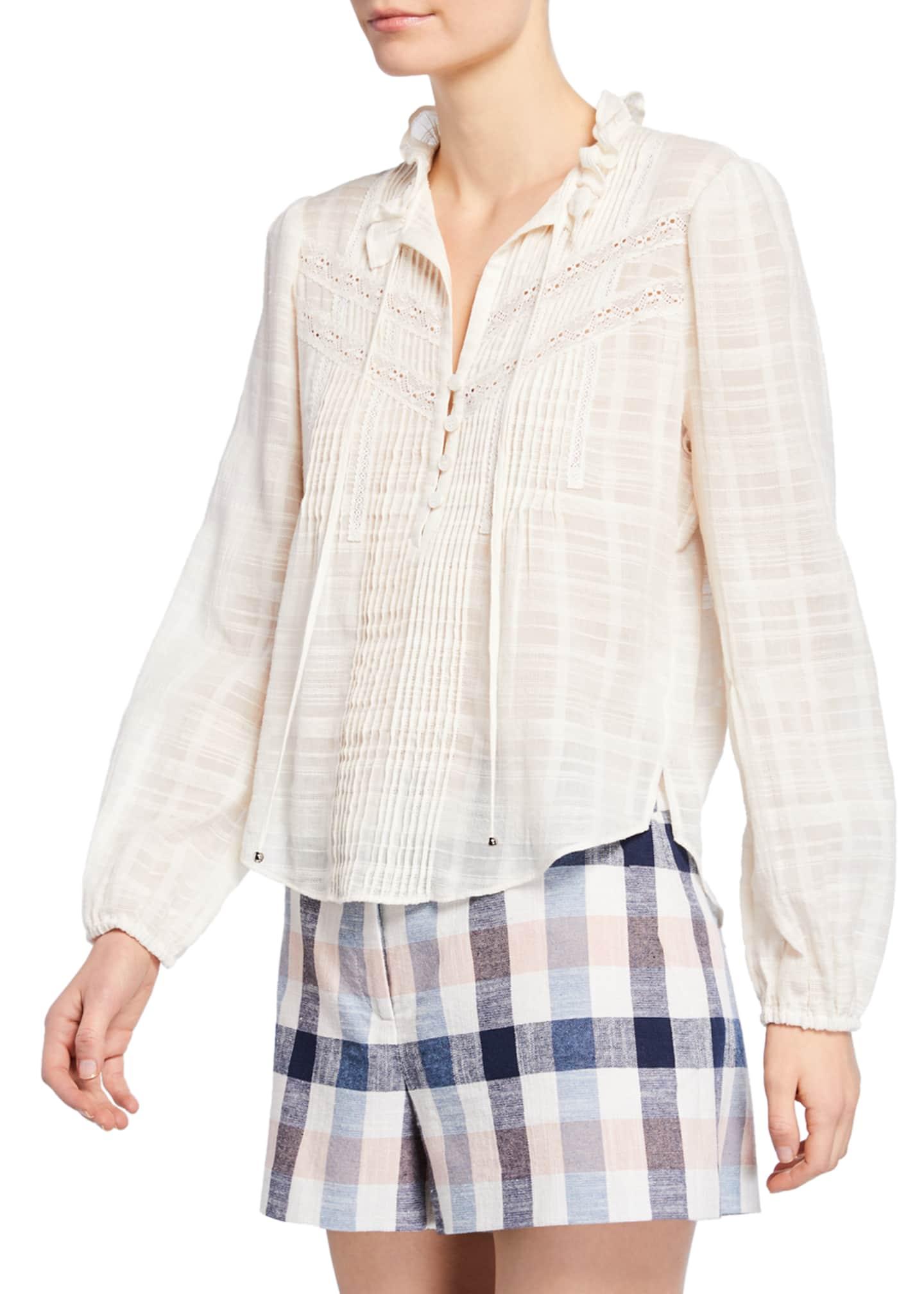 Veronica Beard Jamie High-Neck Cotton Long-Sleeve Blouse