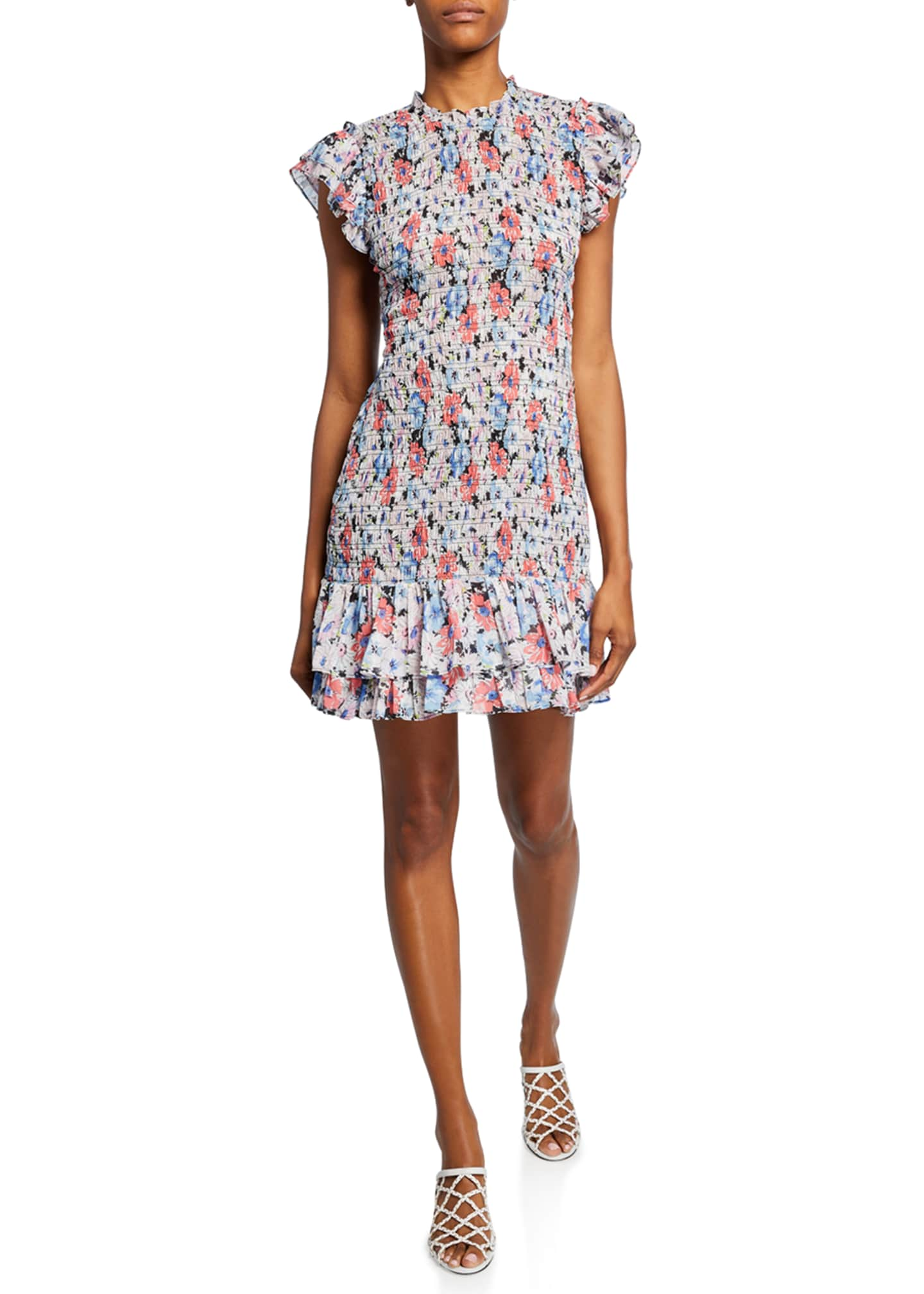 Veronica Beard Cici Smocked Floral Short Dress