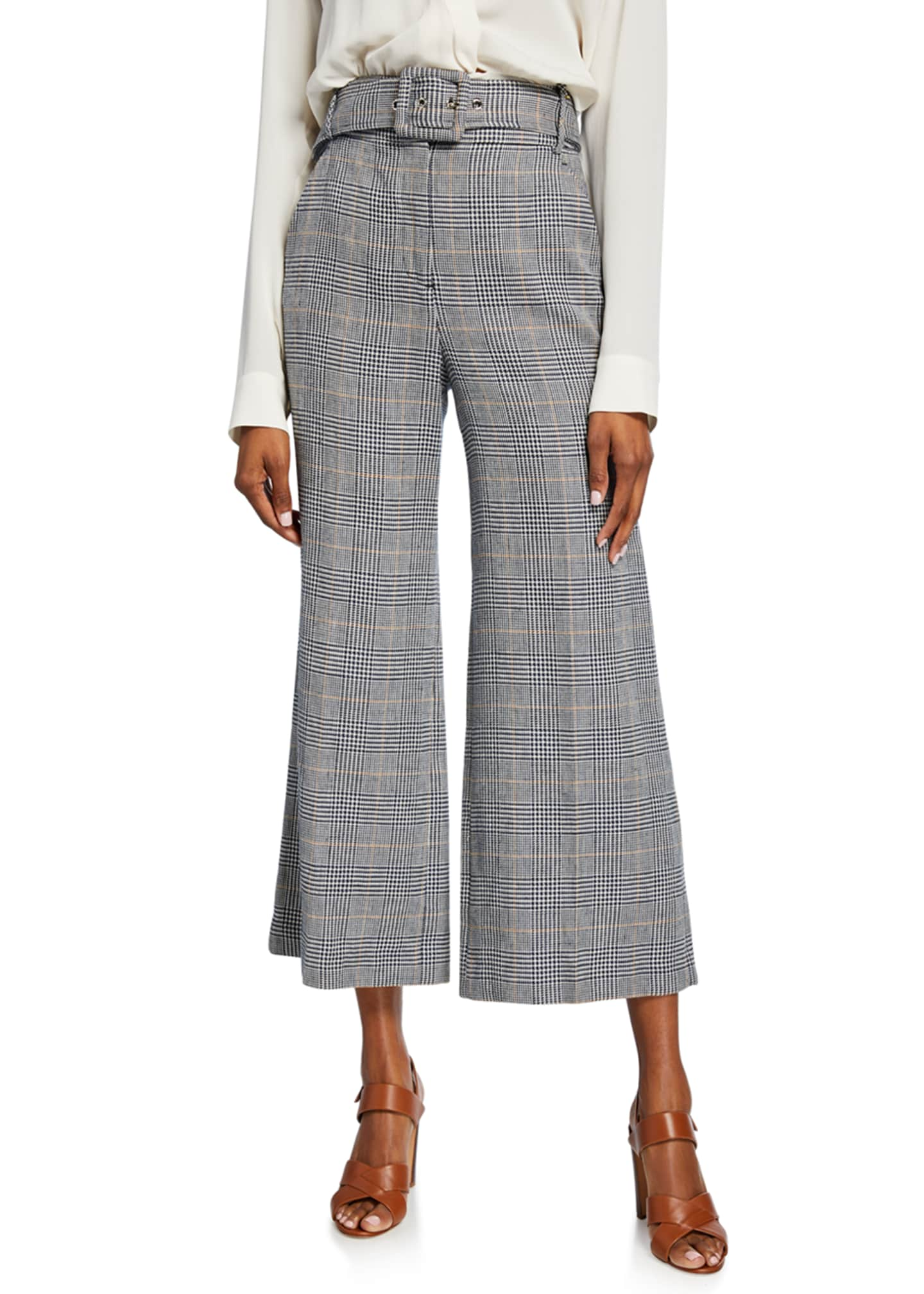 Veronica Beard Dexter Cropped Houndstooth Pants