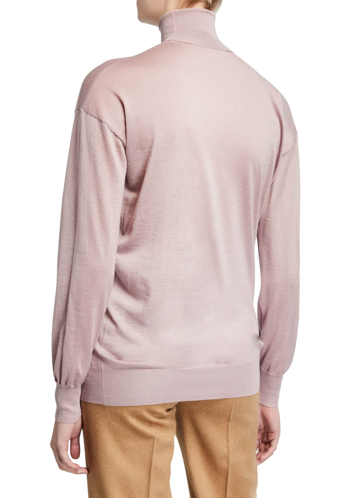 Image 2 of 2: Cashmere/Silk Knit Long-Sleeve Turtleneck Sweater