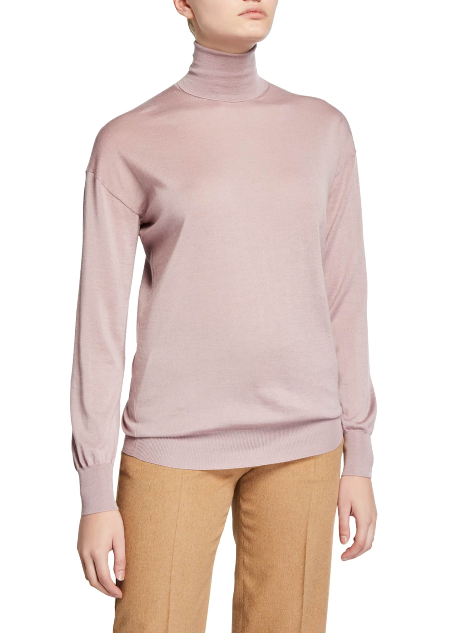 Image 1 of 2: Cashmere/Silk Knit Long-Sleeve Turtleneck Sweater