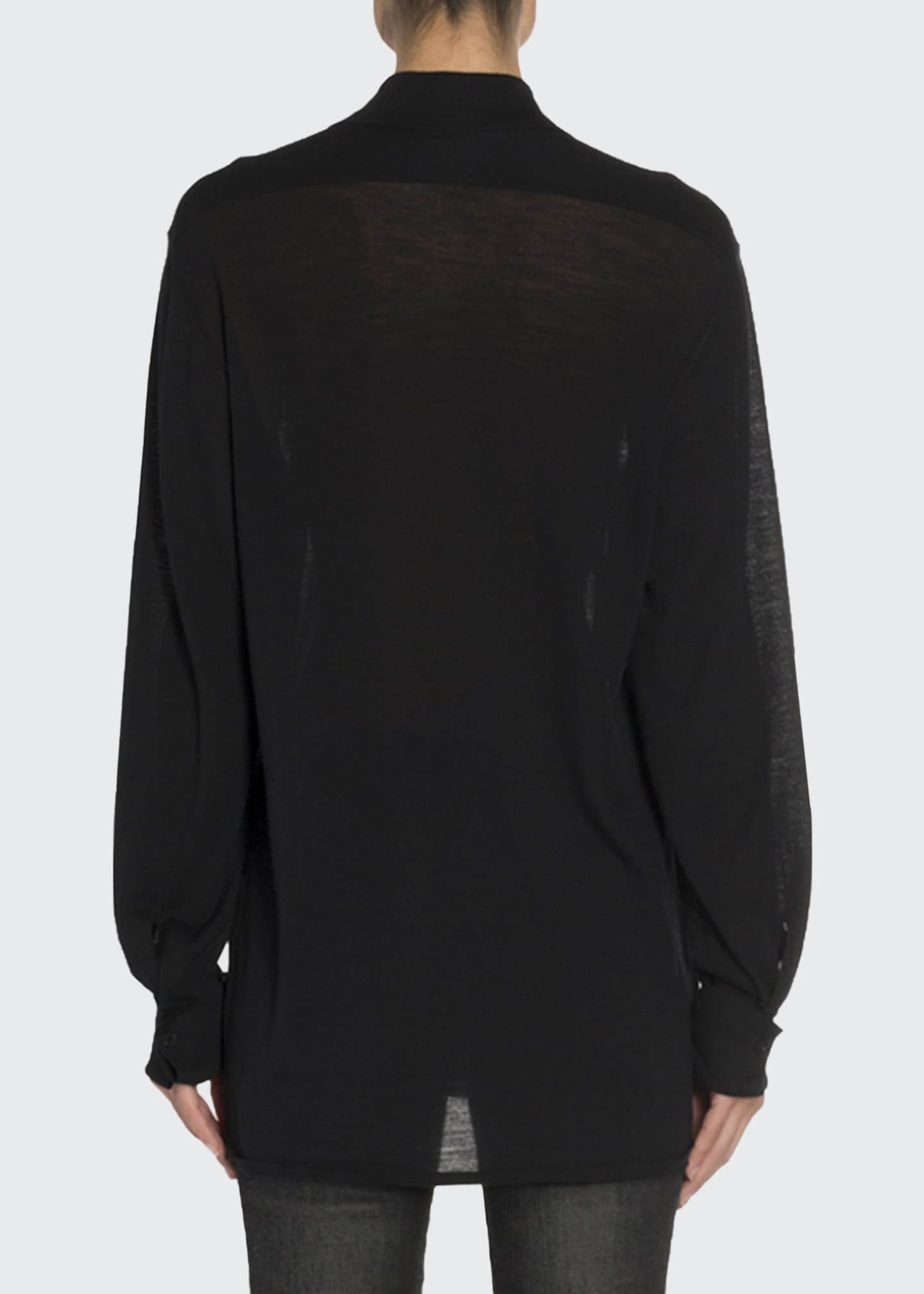 Image 2 of 3: Convertible Cashmere Wrapped Boyfriend Shirt