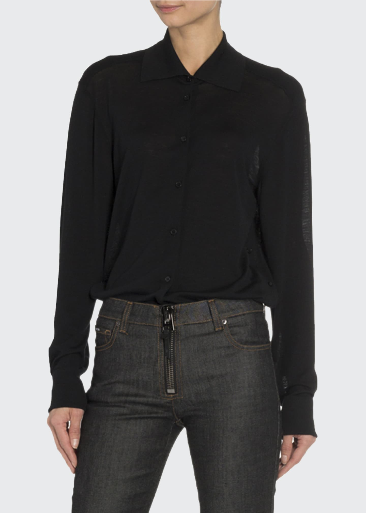 Image 3 of 3: Convertible Cashmere Wrapped Boyfriend Shirt