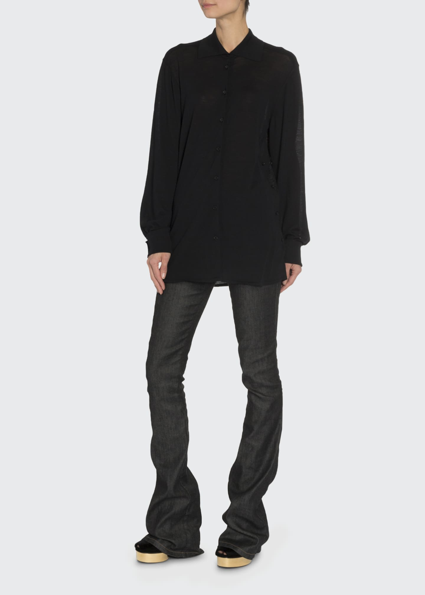 Image 1 of 3: Convertible Cashmere Wrapped Boyfriend Shirt
