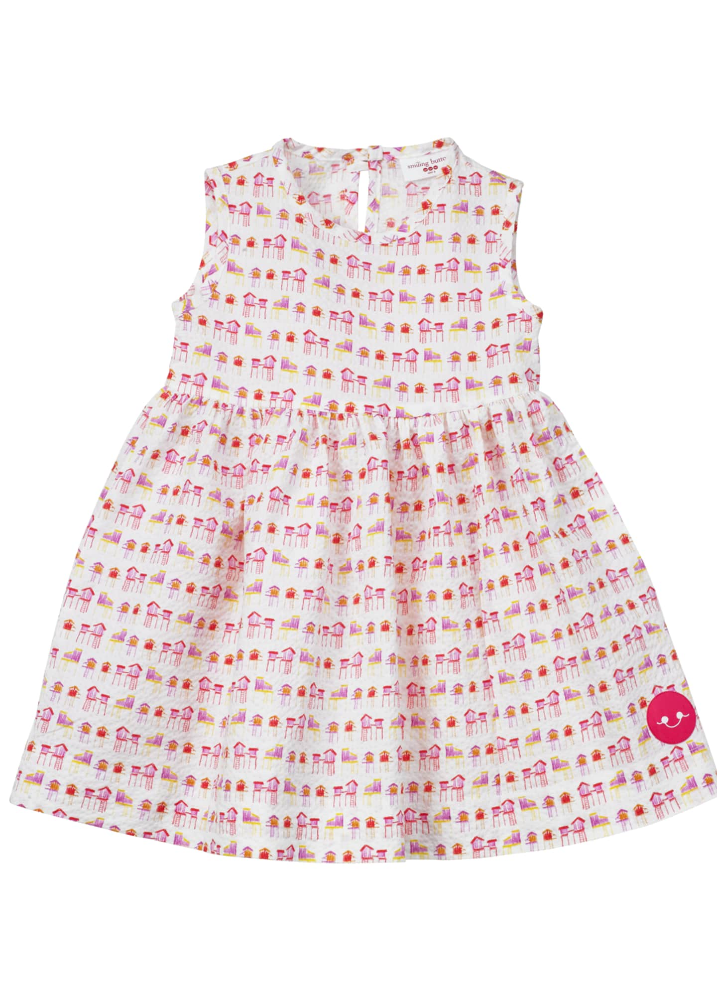 Smiling Button Summer House Sunset Print Seersucker Dress,