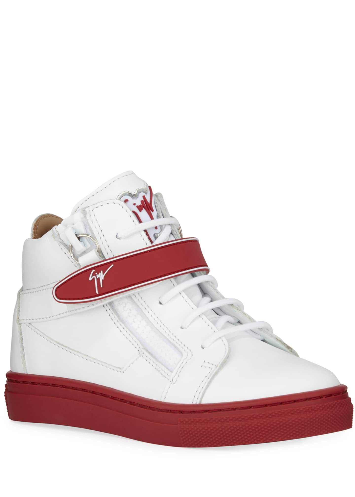 Giuseppe Zanotti London Leather Grip-Strap High-Top Sneakers,