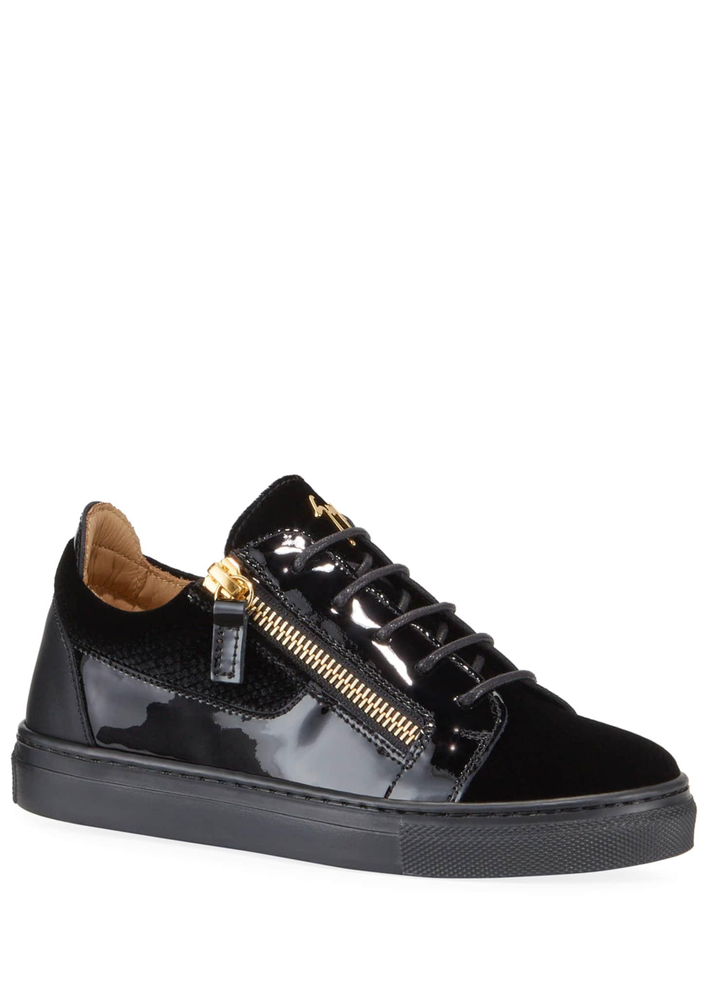 Giuseppe Zanotti London Patent Leather & Velvet Low-Top