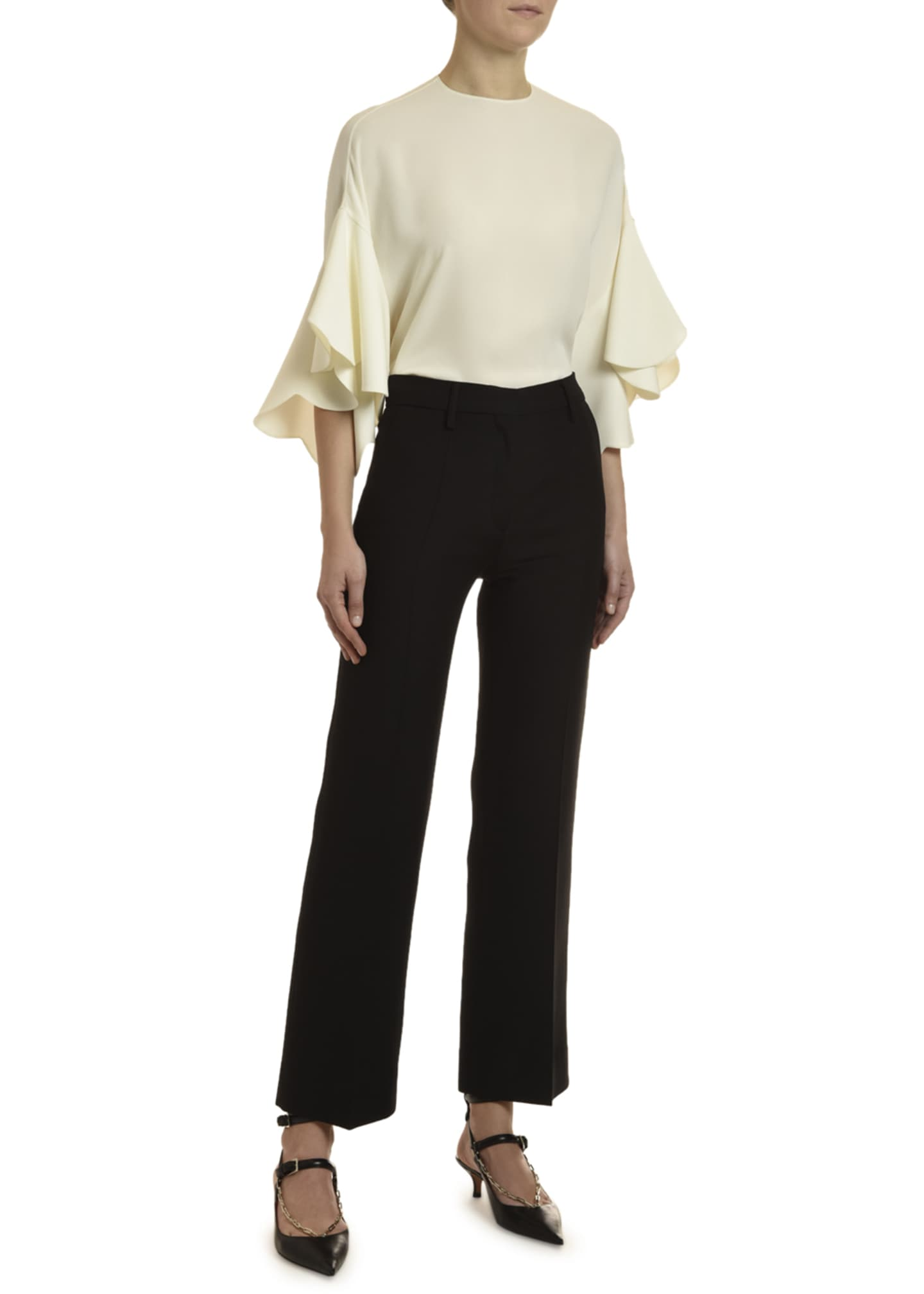 Image 2 of 3: Georgette Draped-Sleeve Blouse