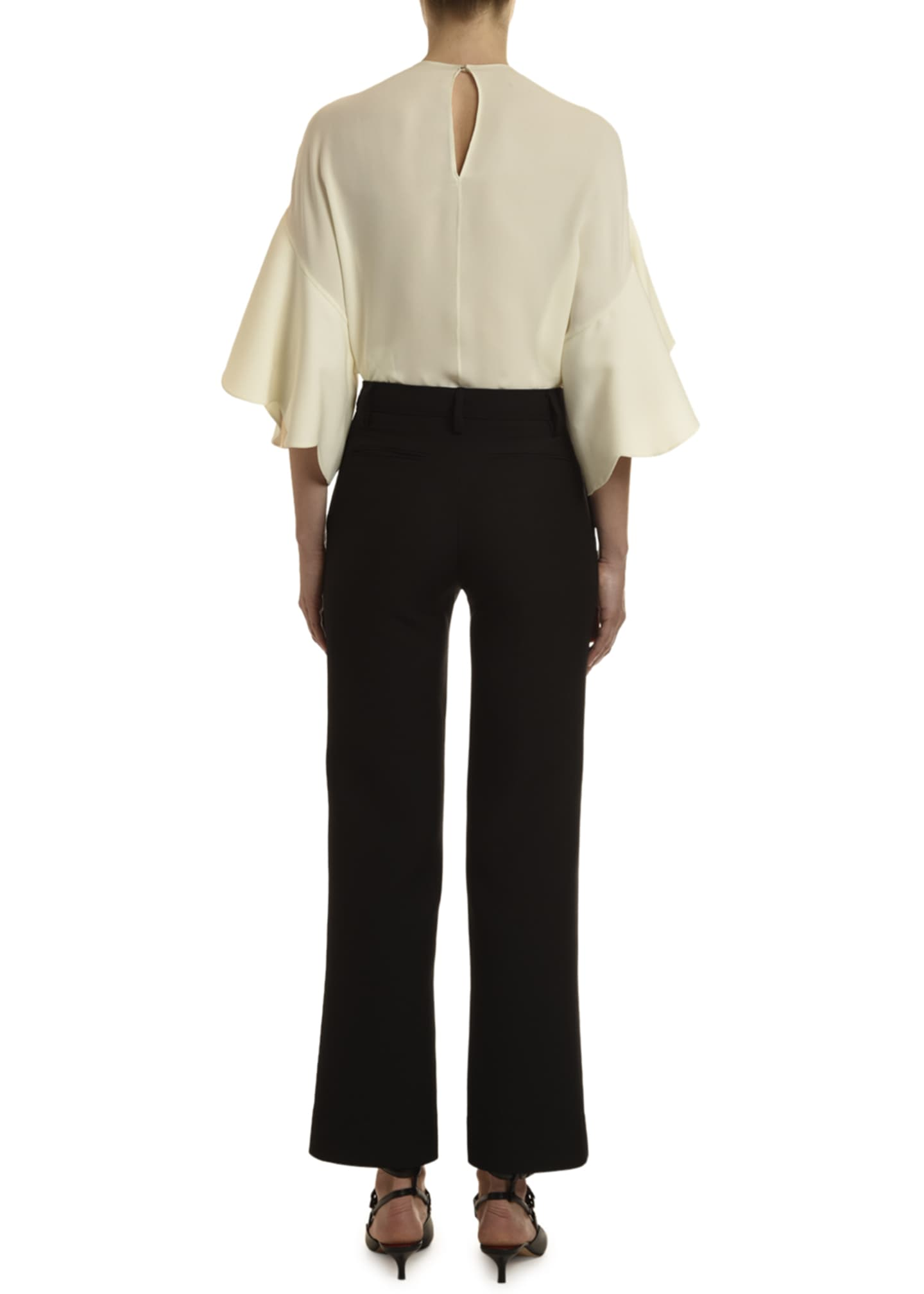 Image 3 of 3: Georgette Draped-Sleeve Blouse