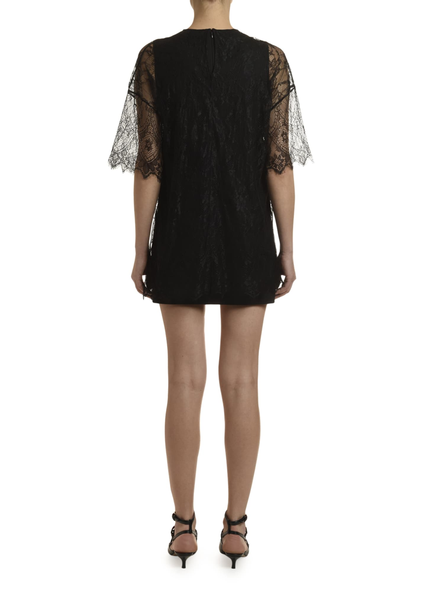 Image 3 of 4: 1/2-Sleeve Shift Dress w/ Lace Overlay