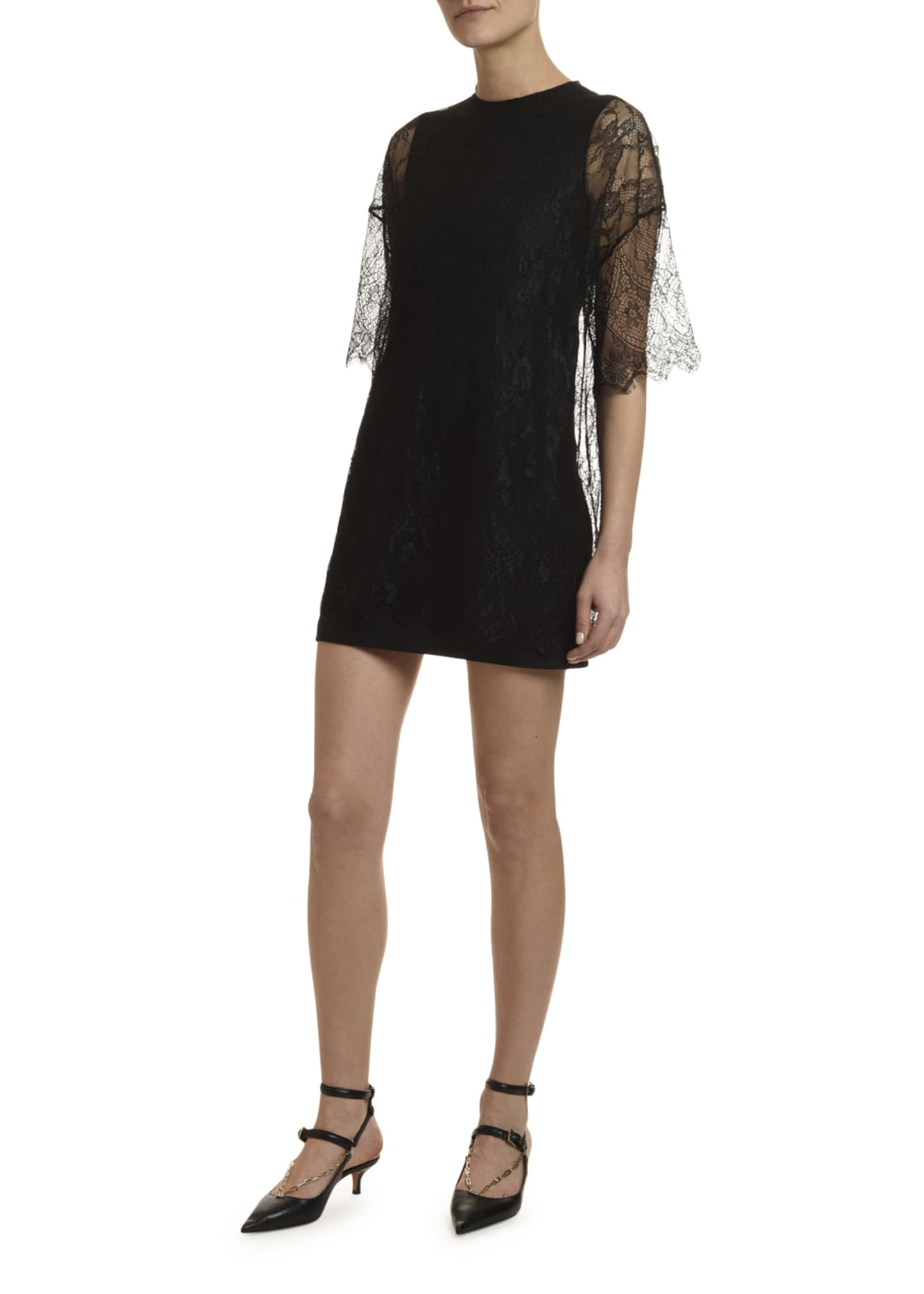 Image 4 of 4: 1/2-Sleeve Shift Dress w/ Lace Overlay