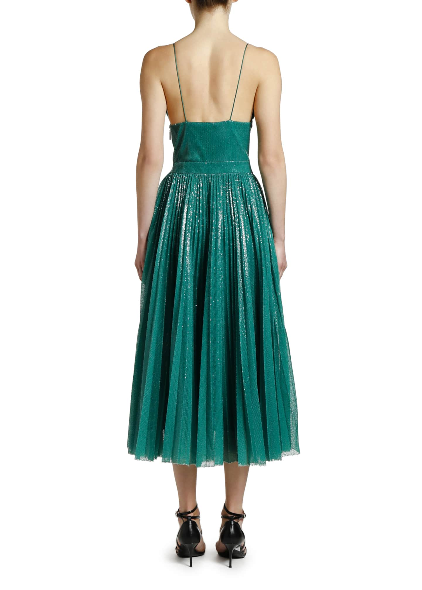 Image 2 of 3: Shimmery V-Neck Pleated Cami Dress