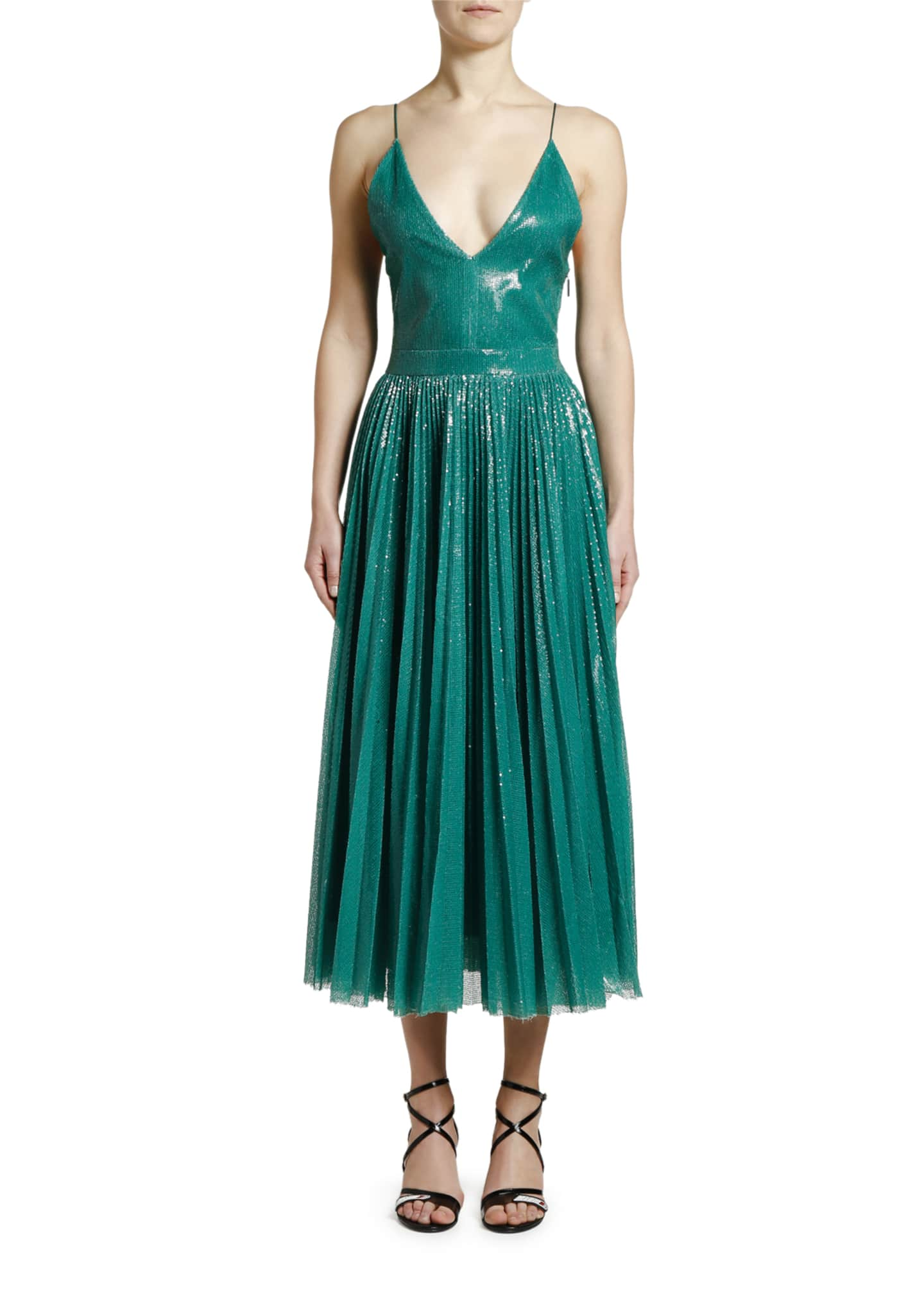 Image 3 of 3: Shimmery V-Neck Pleated Cami Dress