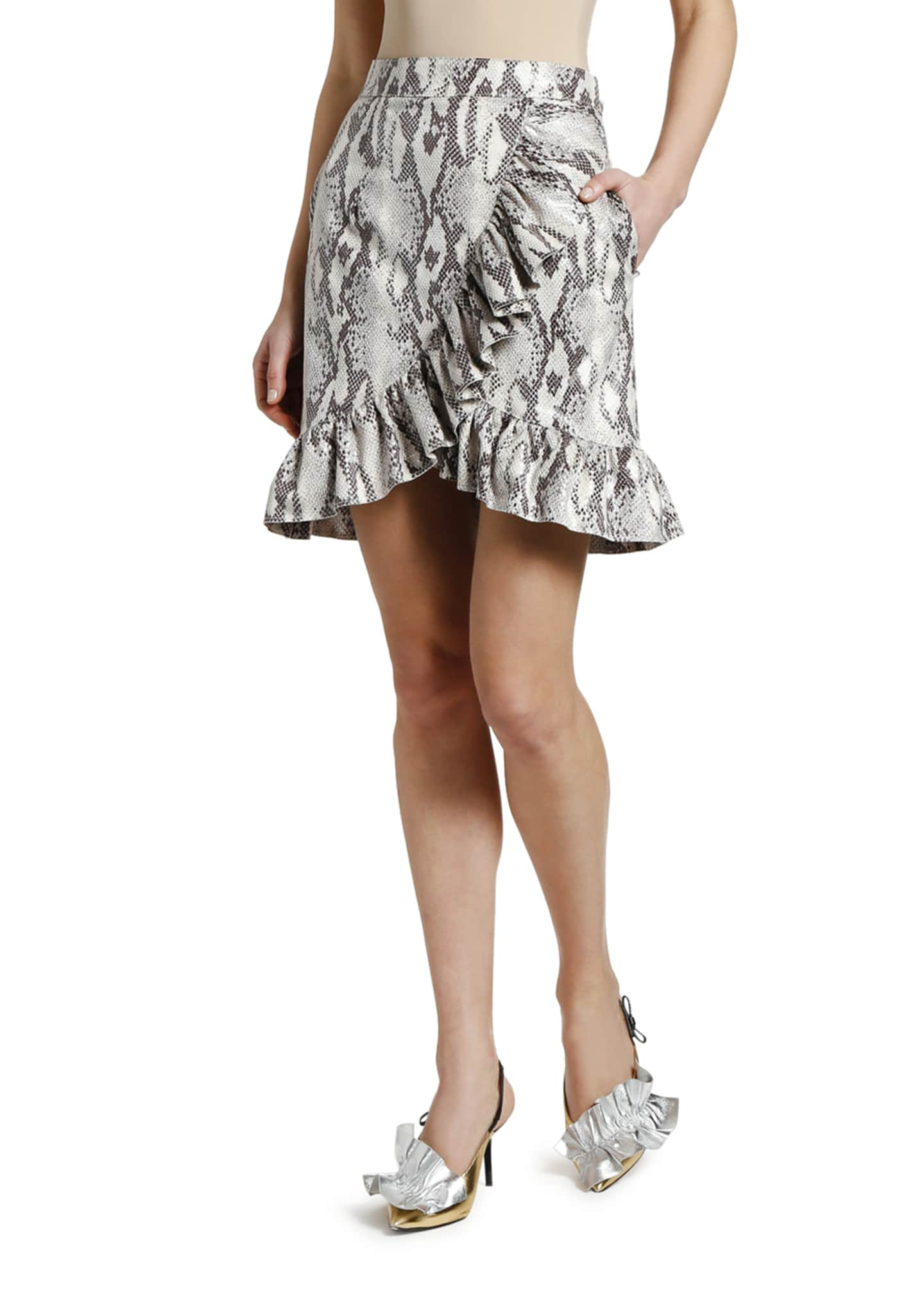 Image 3 of 3: Snake Ruffle Wrap Skirt