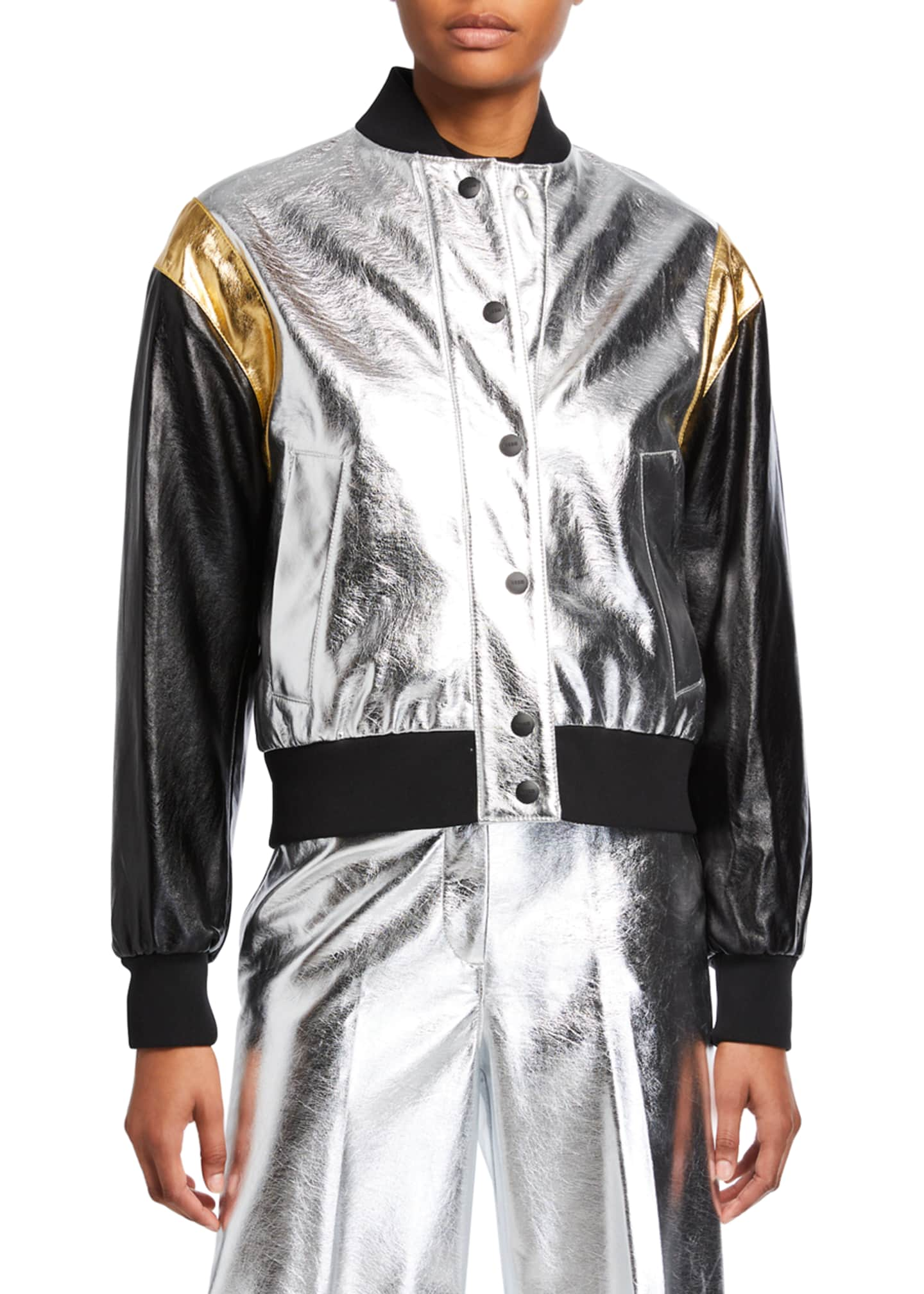 Image 2 of 3: Metallic Bomber Jacket