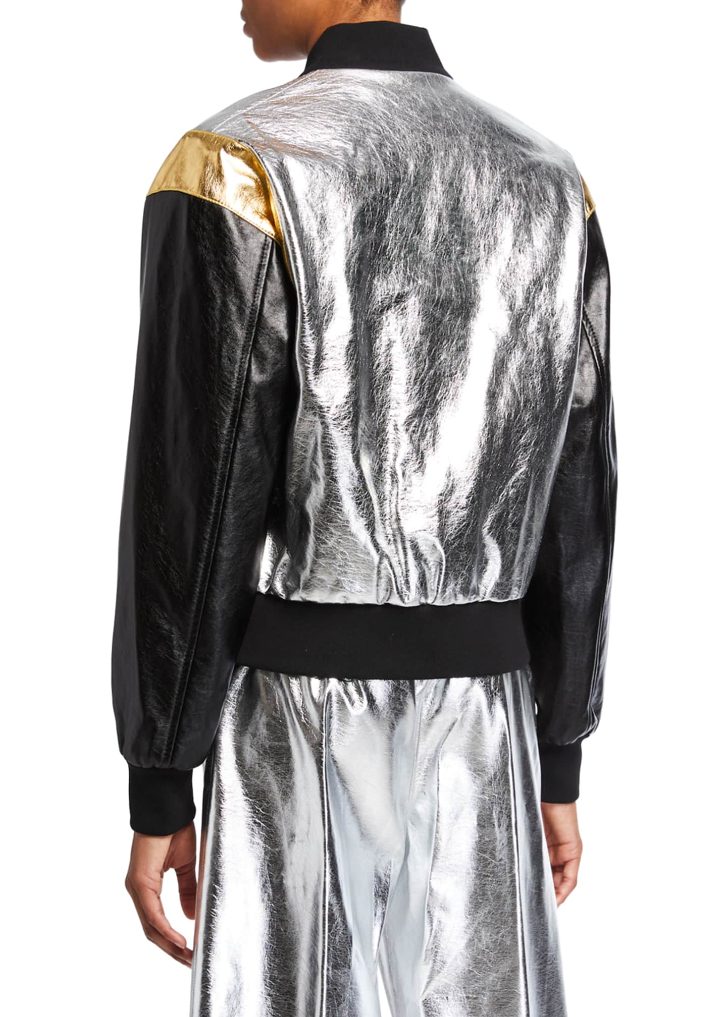 Image 3 of 3: Metallic Bomber Jacket