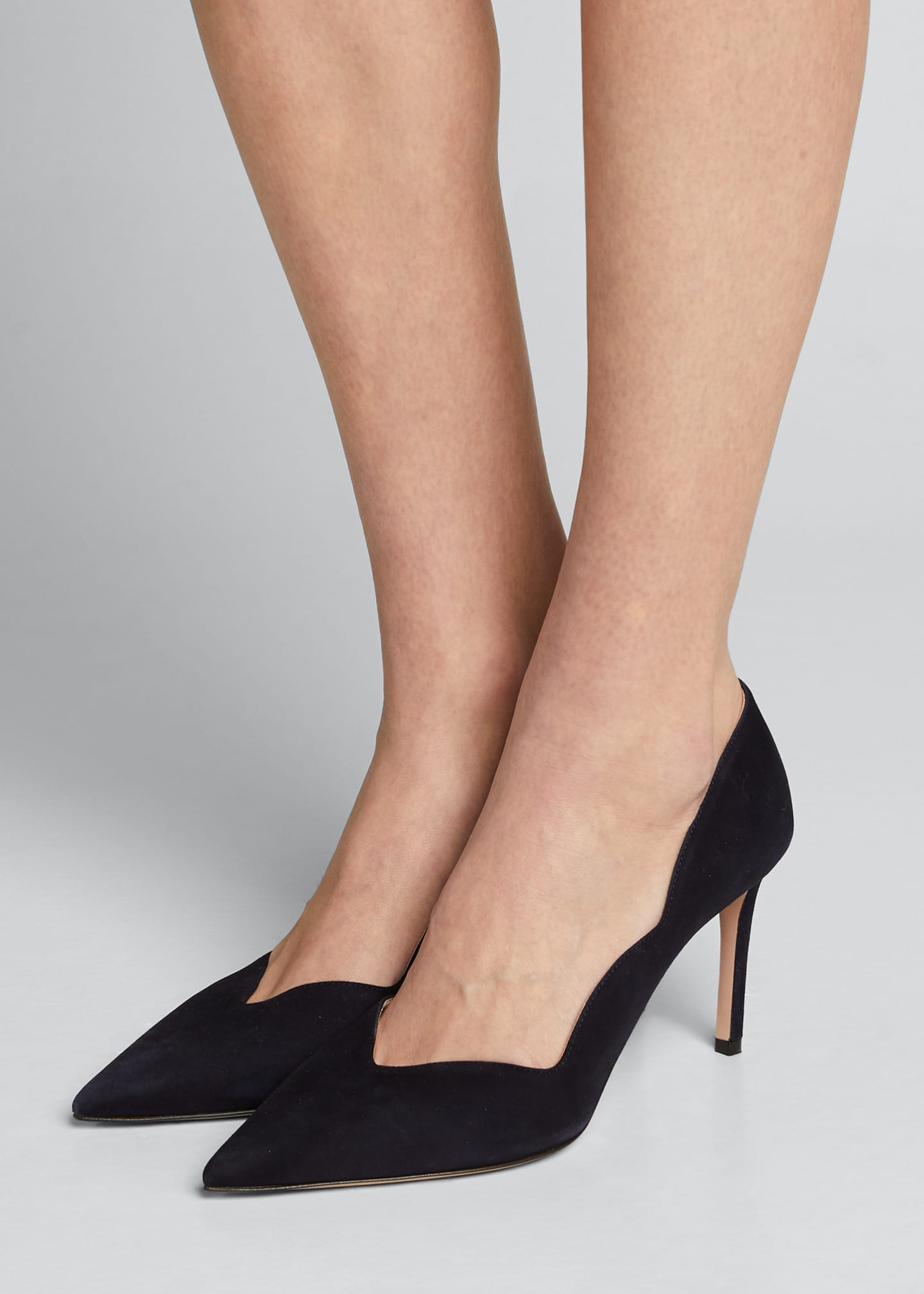 Image 2 of 4: Suede Scallop Pointed Pumps