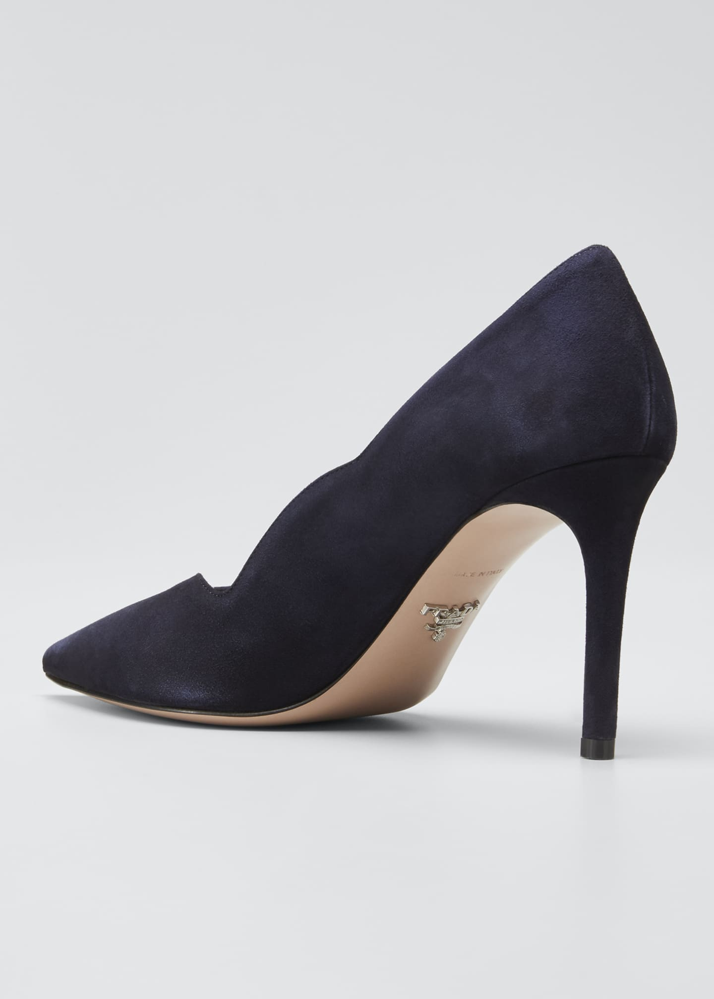 Image 3 of 4: Suede Scallop Pointed Pumps