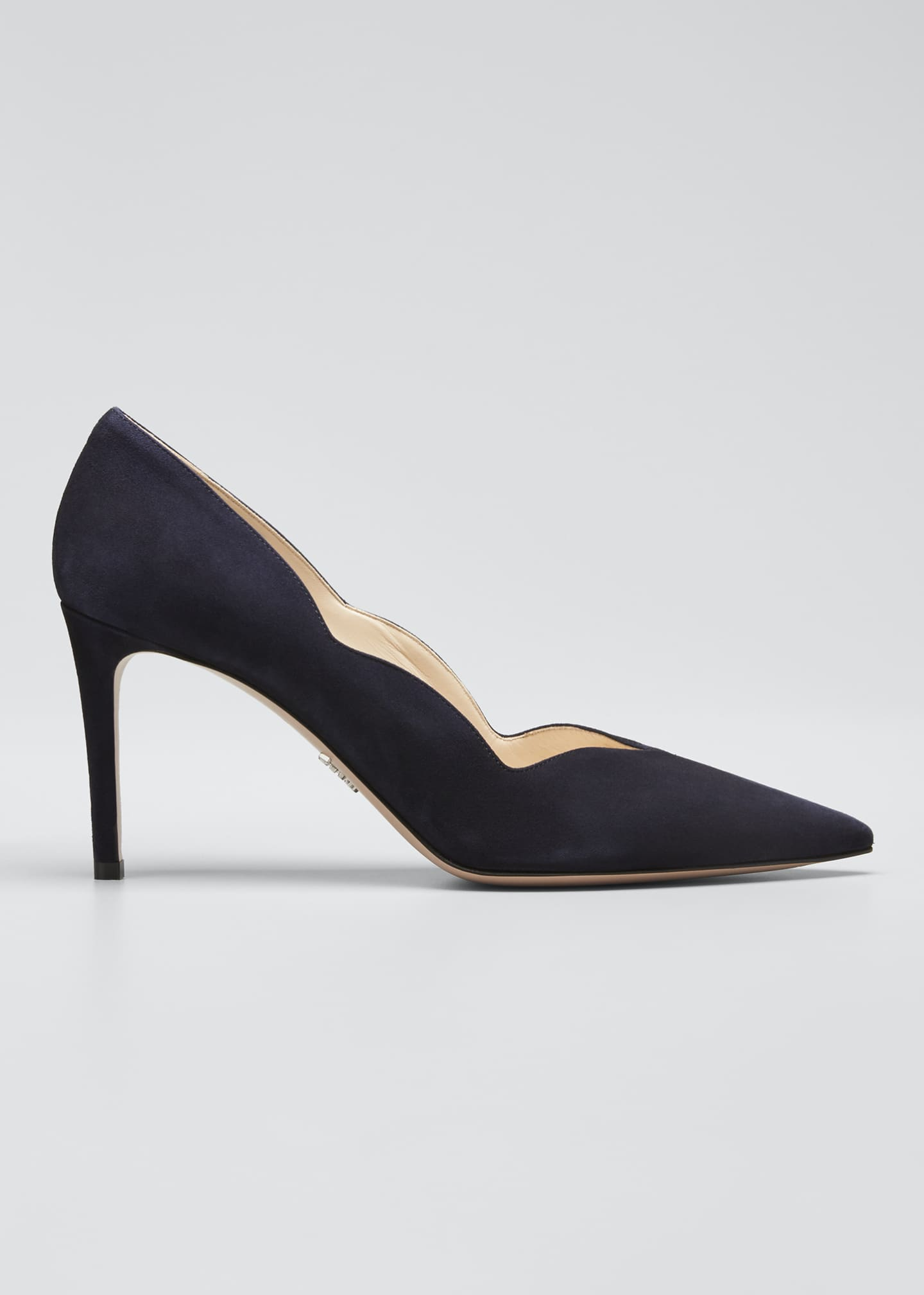 Image 1 of 4: Suede Scallop Pointed Pumps
