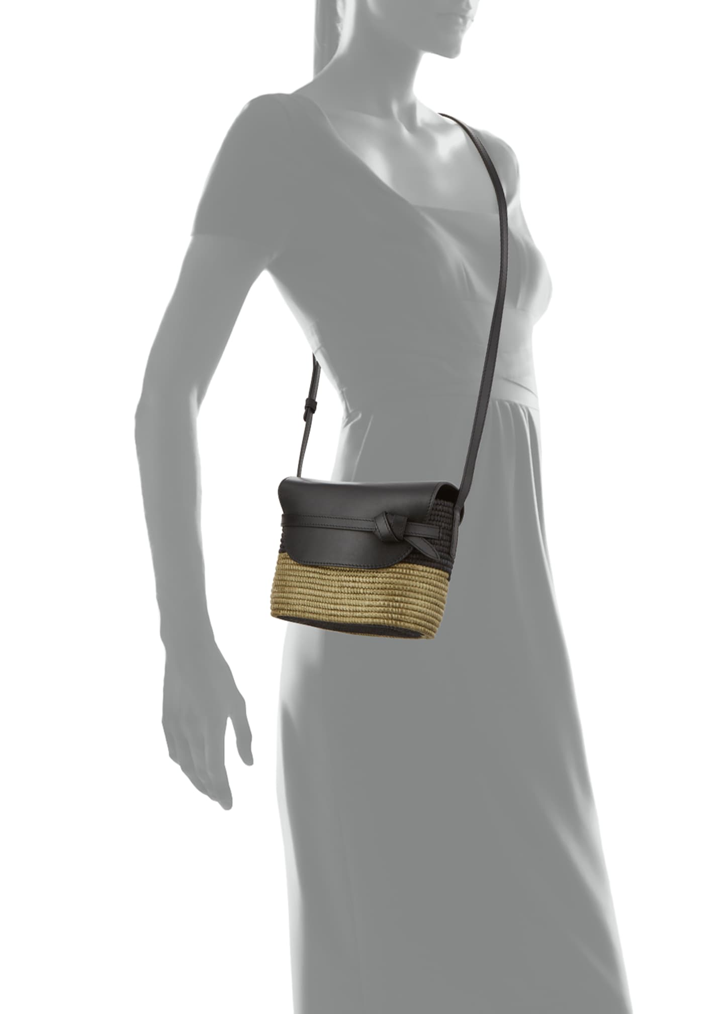 Image 3 of 3: Woven and Leather Crossbody Bag