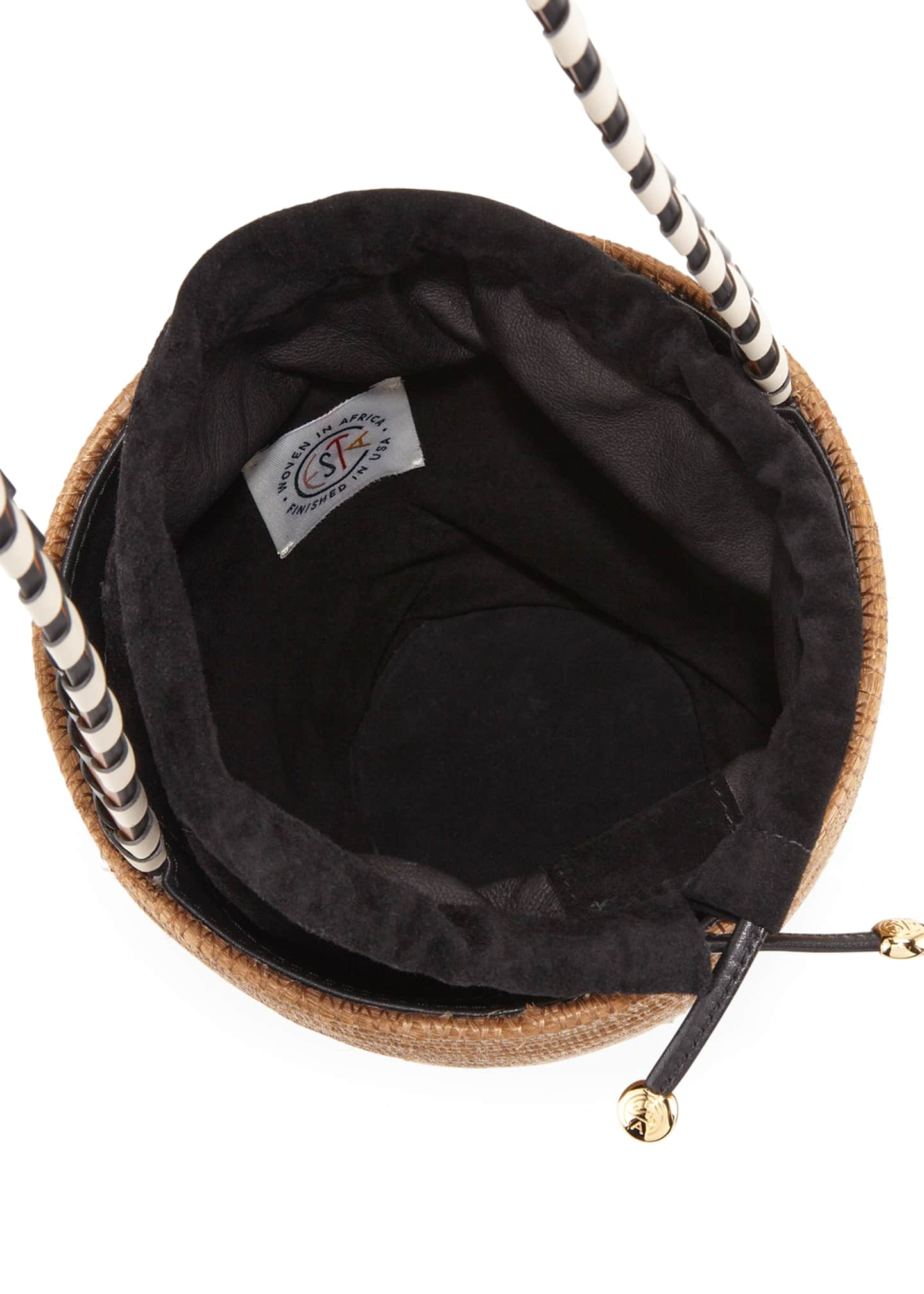 Image 2 of 3: Woven Lunchpail Crossbody Bucket Bag