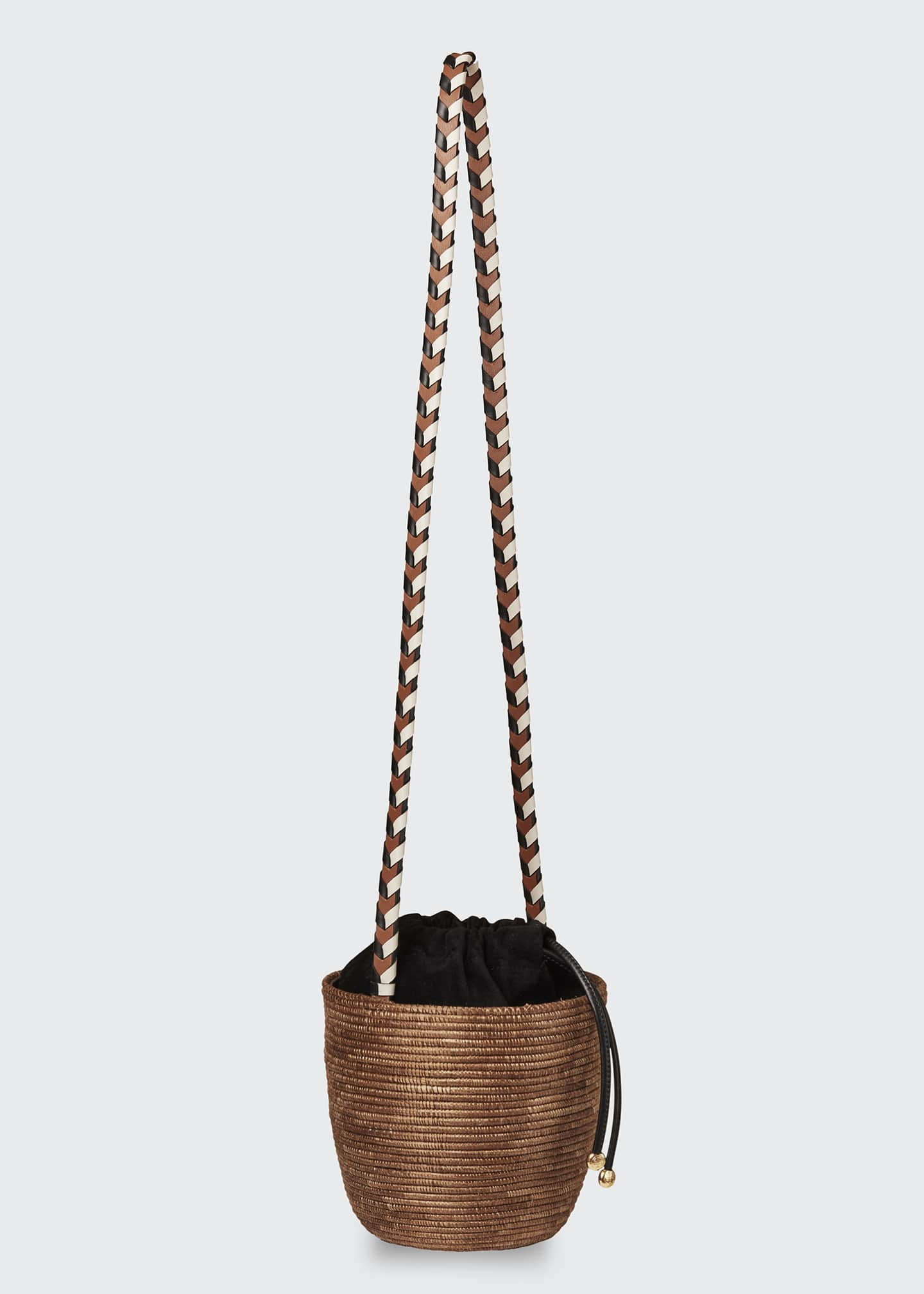 Image 3 of 3: Woven Lunchpail Crossbody Bucket Bag