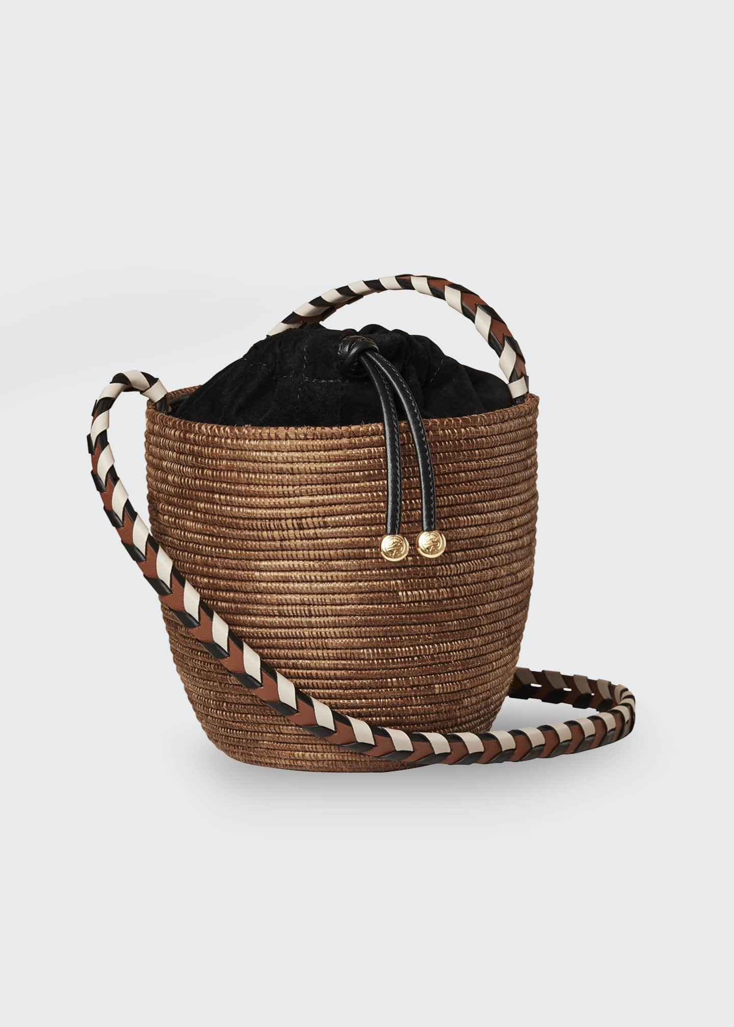 Image 1 of 3: Woven Lunchpail Crossbody Bucket Bag
