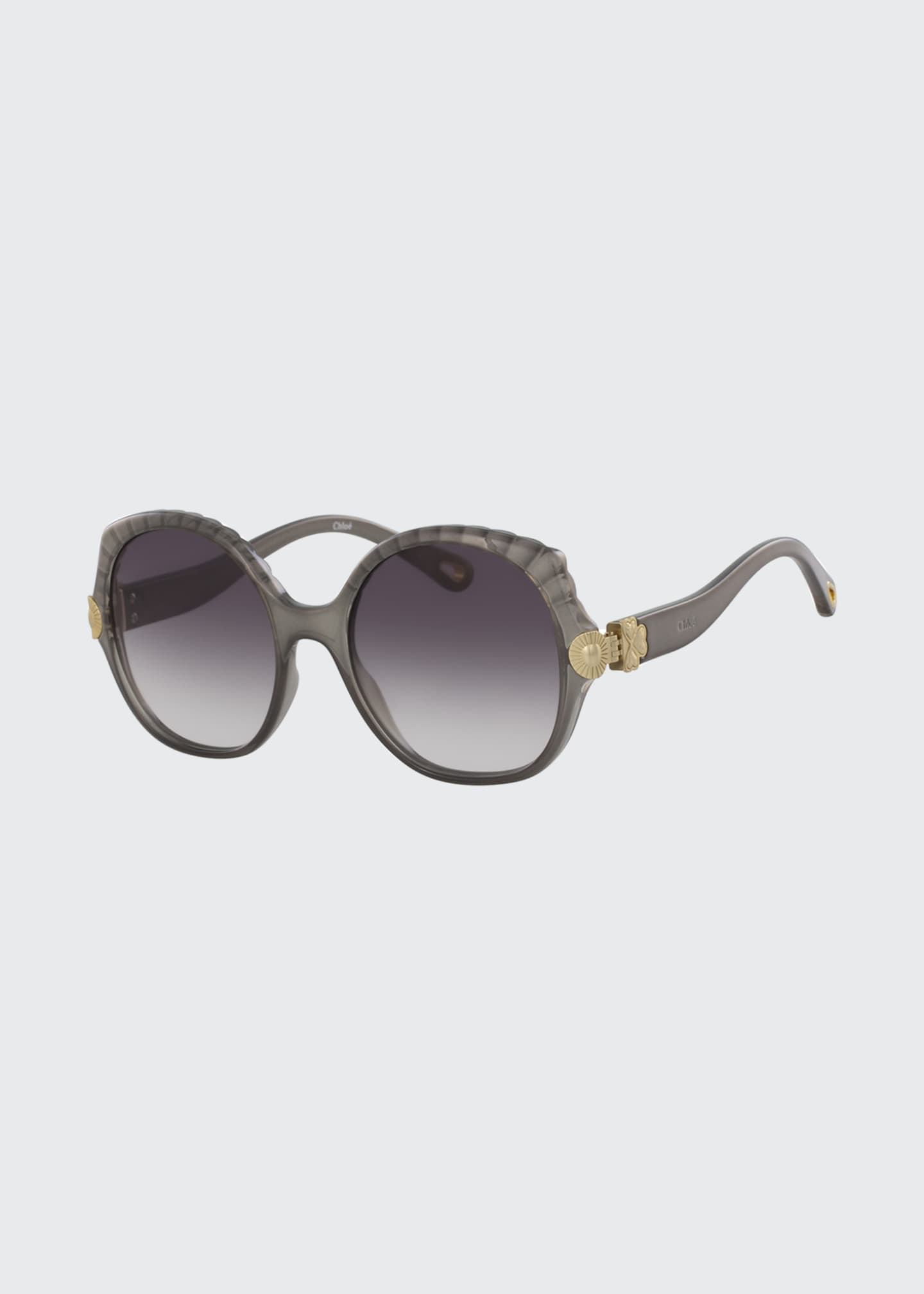 Chloe Scalloped Round Plastic Sunglasses
