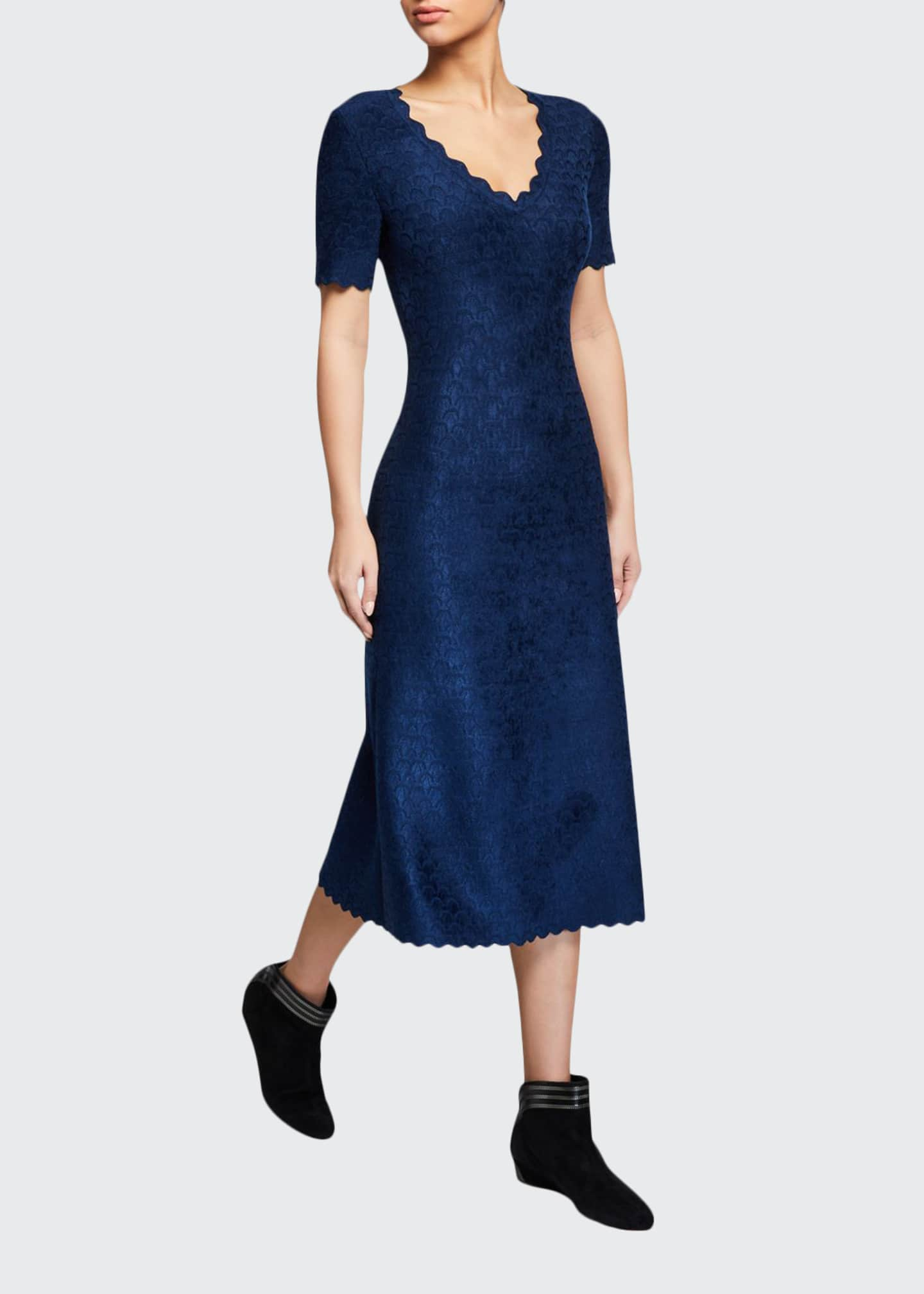 ALAIA Velvet Embossed Scalloped Dress
