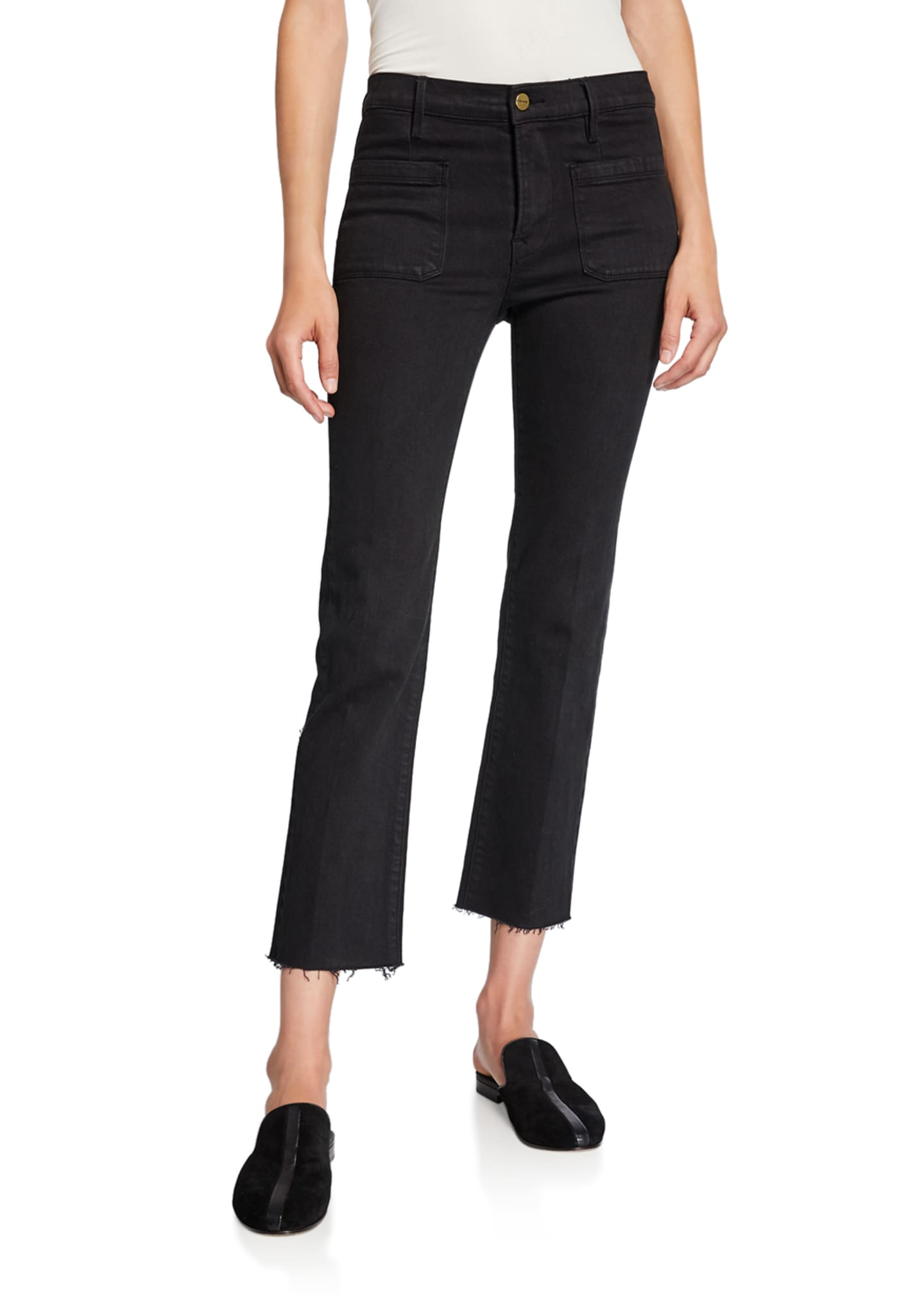 FRAME Le Bardot Straight Raw-Edge Jeans