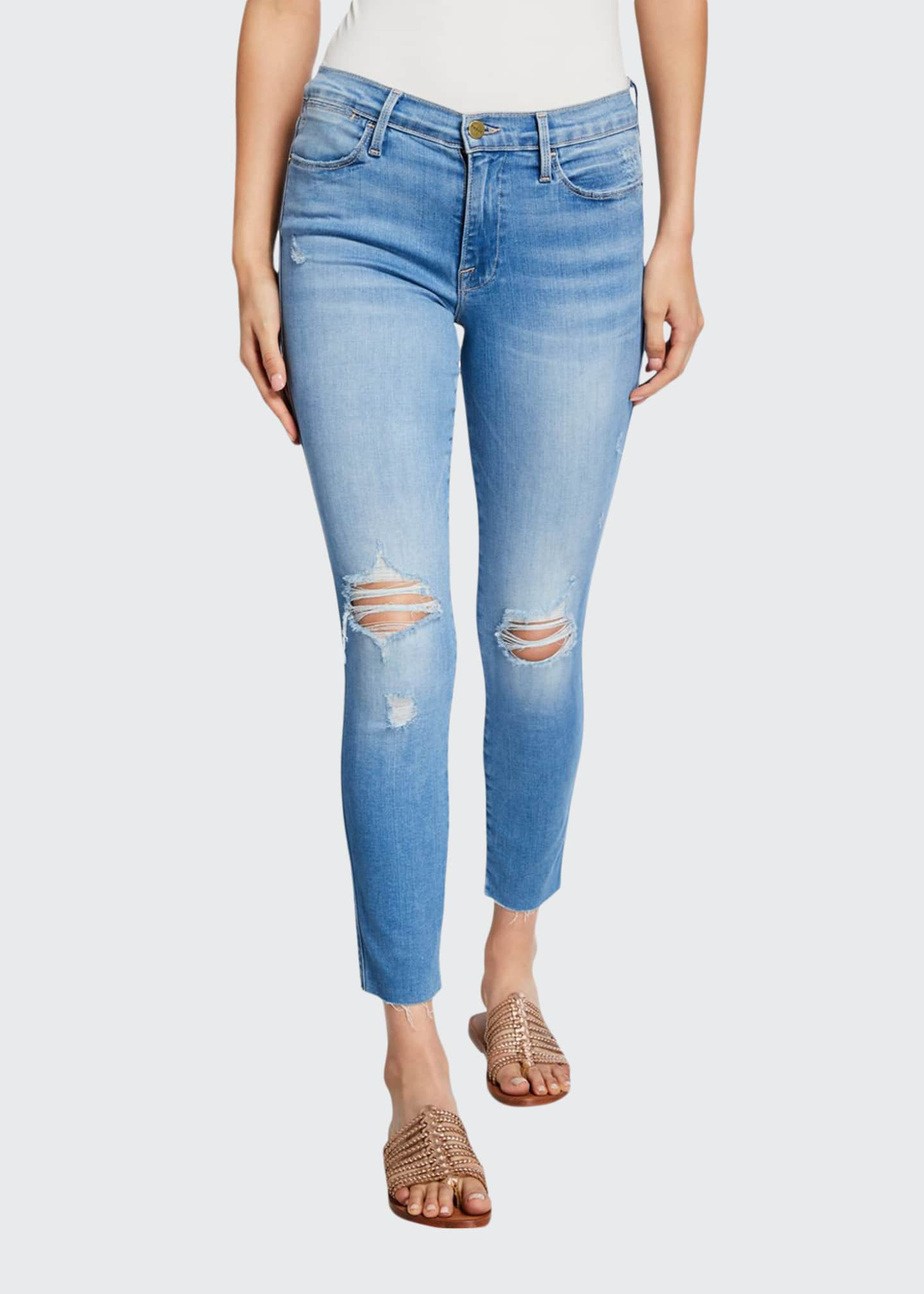 FRAME Le High Skinny Crop Double-Needle Raw-Edge Jeans