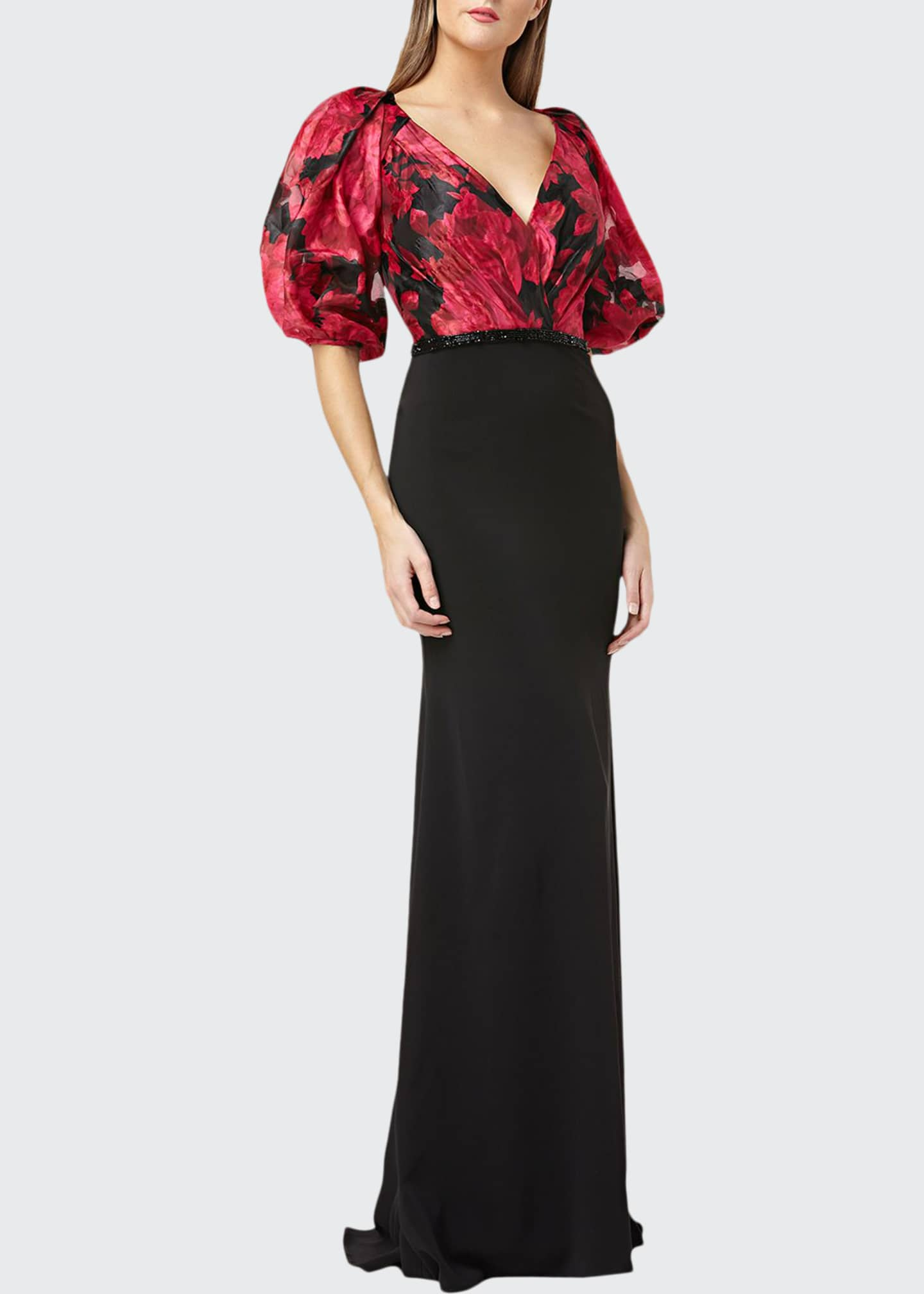 Carmen Marc Valvo Infusion Printed-Bodice Puff-Sleeve V-Neck Gown