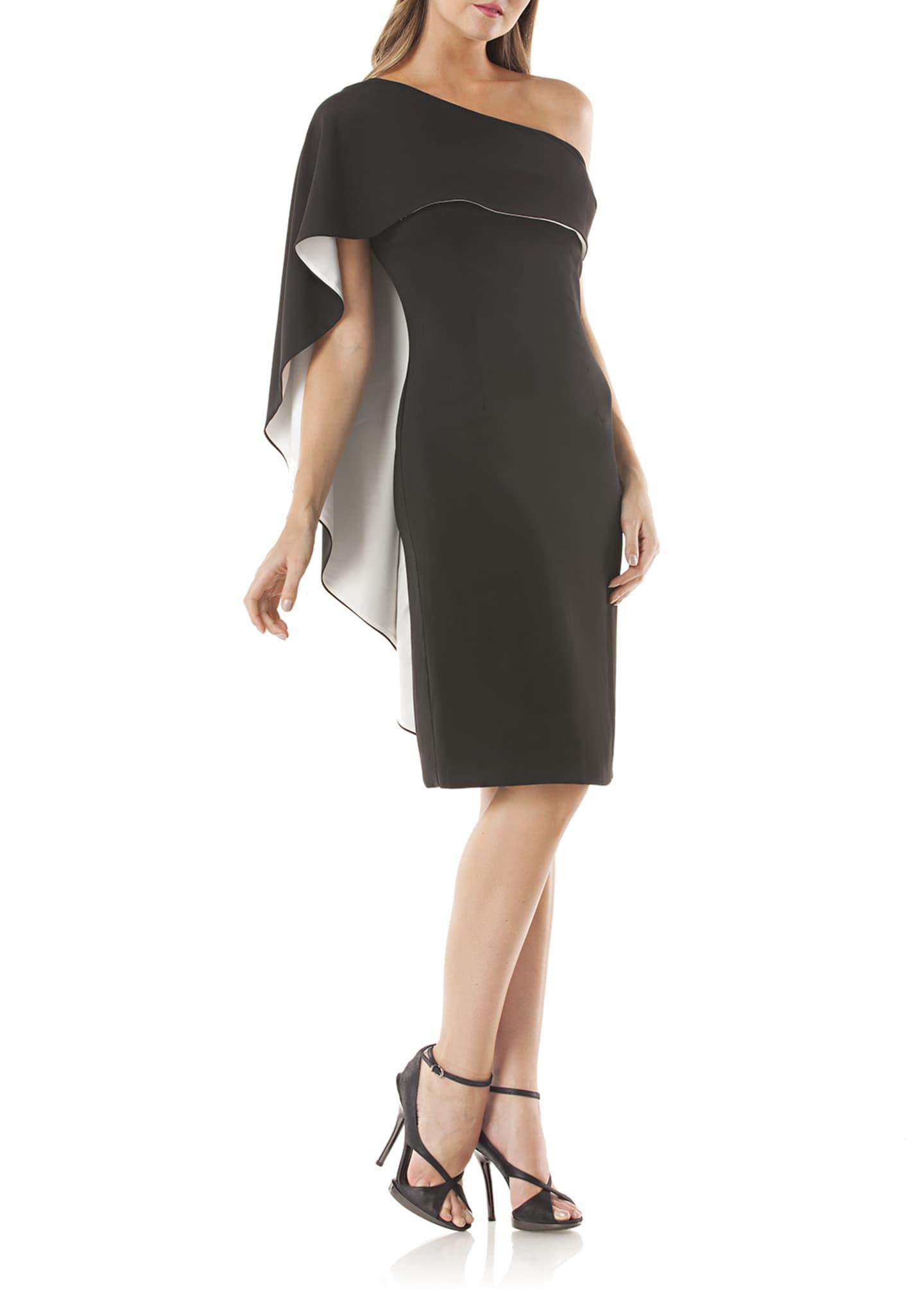 Carmen Marc Valvo Infusion One-Shoulder Cocktail Dress w/