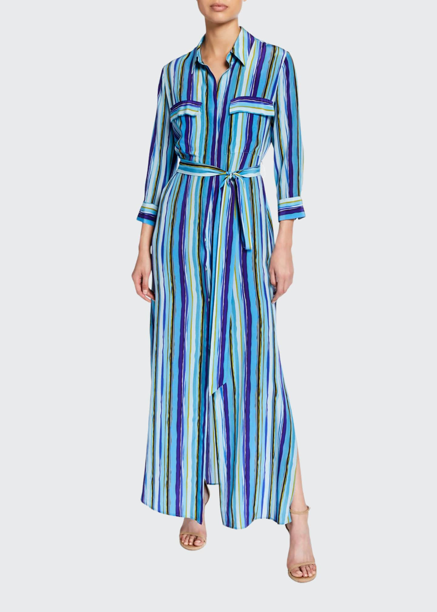 L'Agence Cameron Striped Button-Front Long Silk Shirtdress