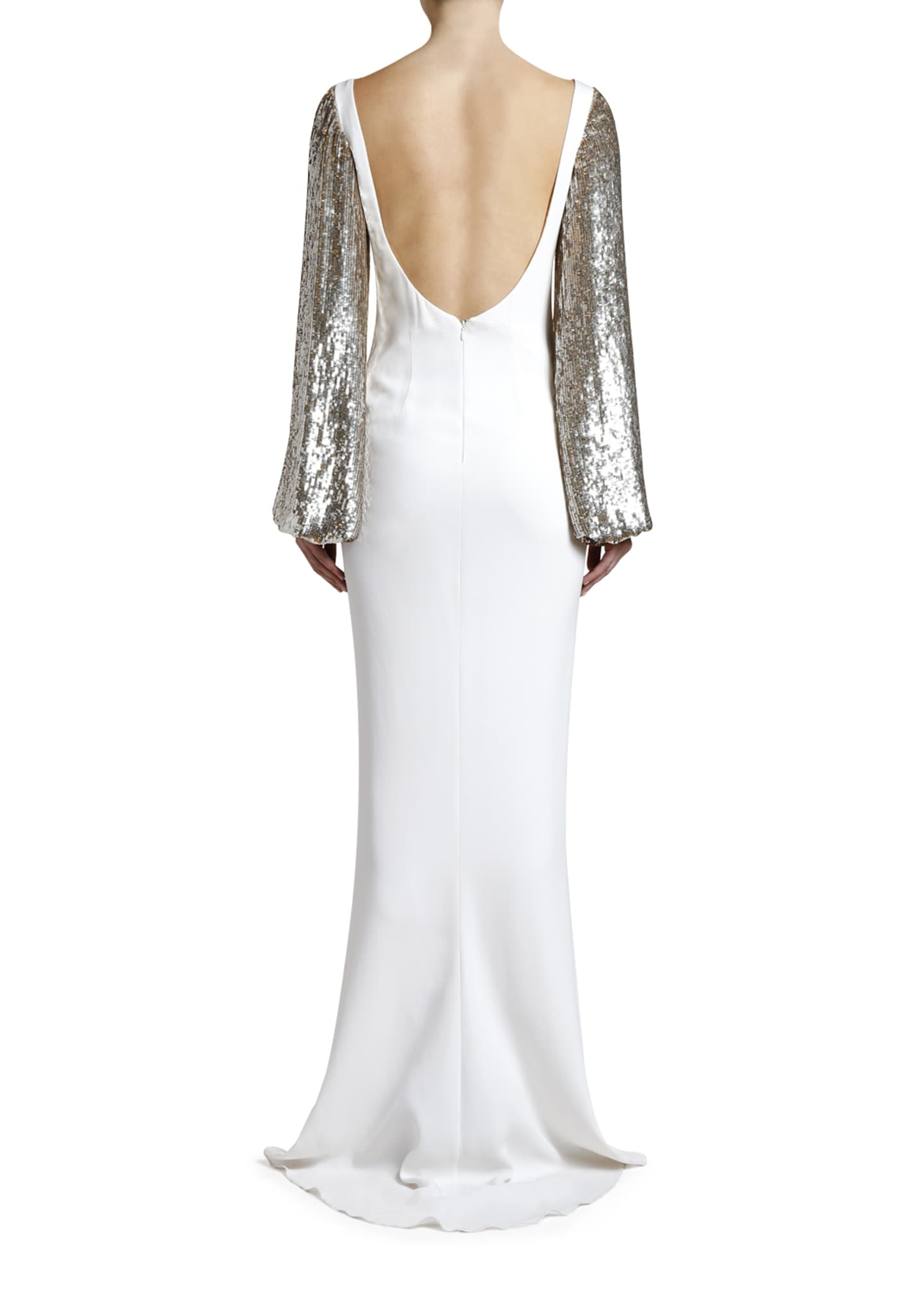 Image 2 of 4: Boat-Neck Golden Sequined-Sleeve Gown