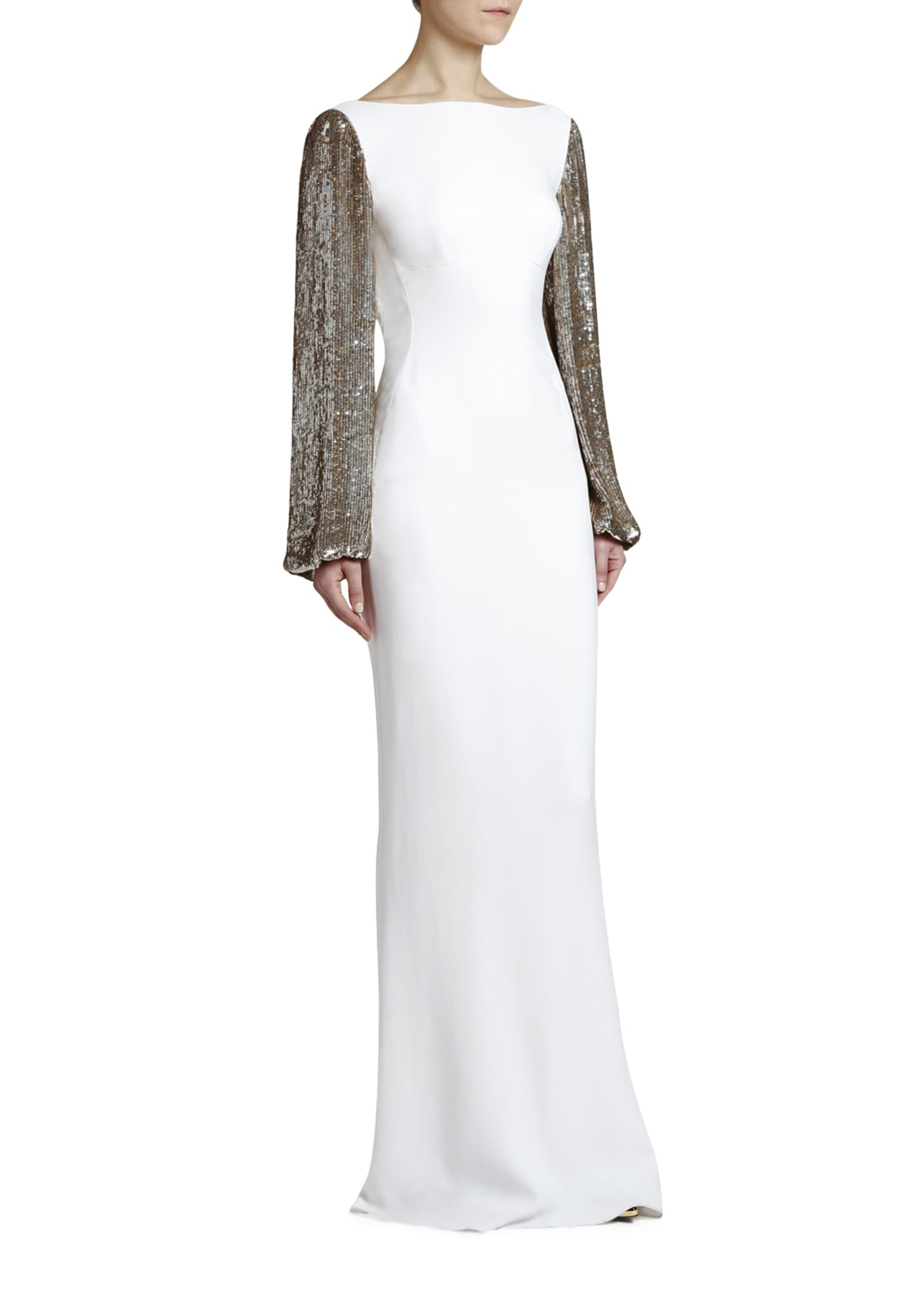 Image 3 of 4: Boat-Neck Golden Sequined-Sleeve Gown