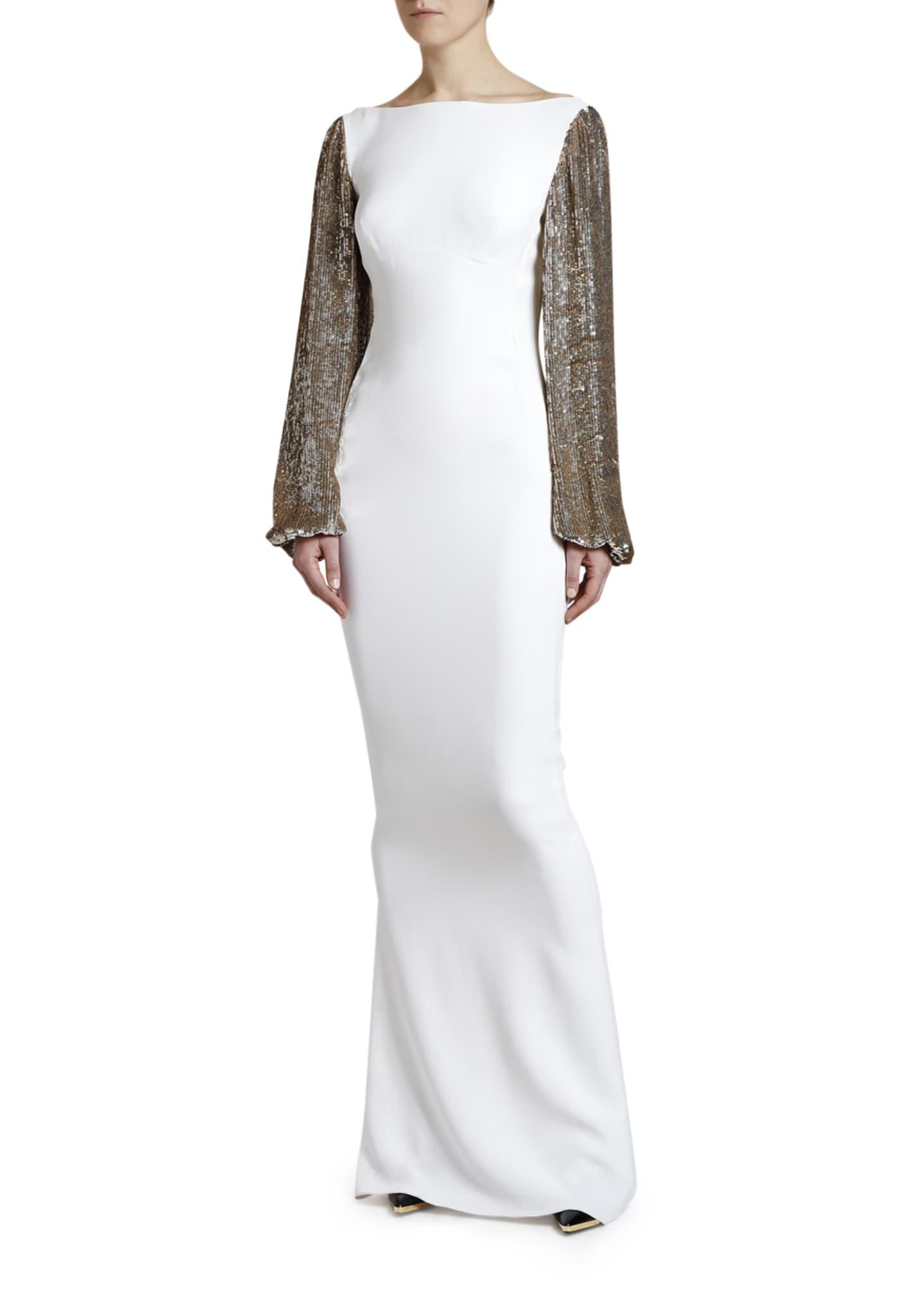 Image 4 of 4: Boat-Neck Golden Sequined-Sleeve Gown
