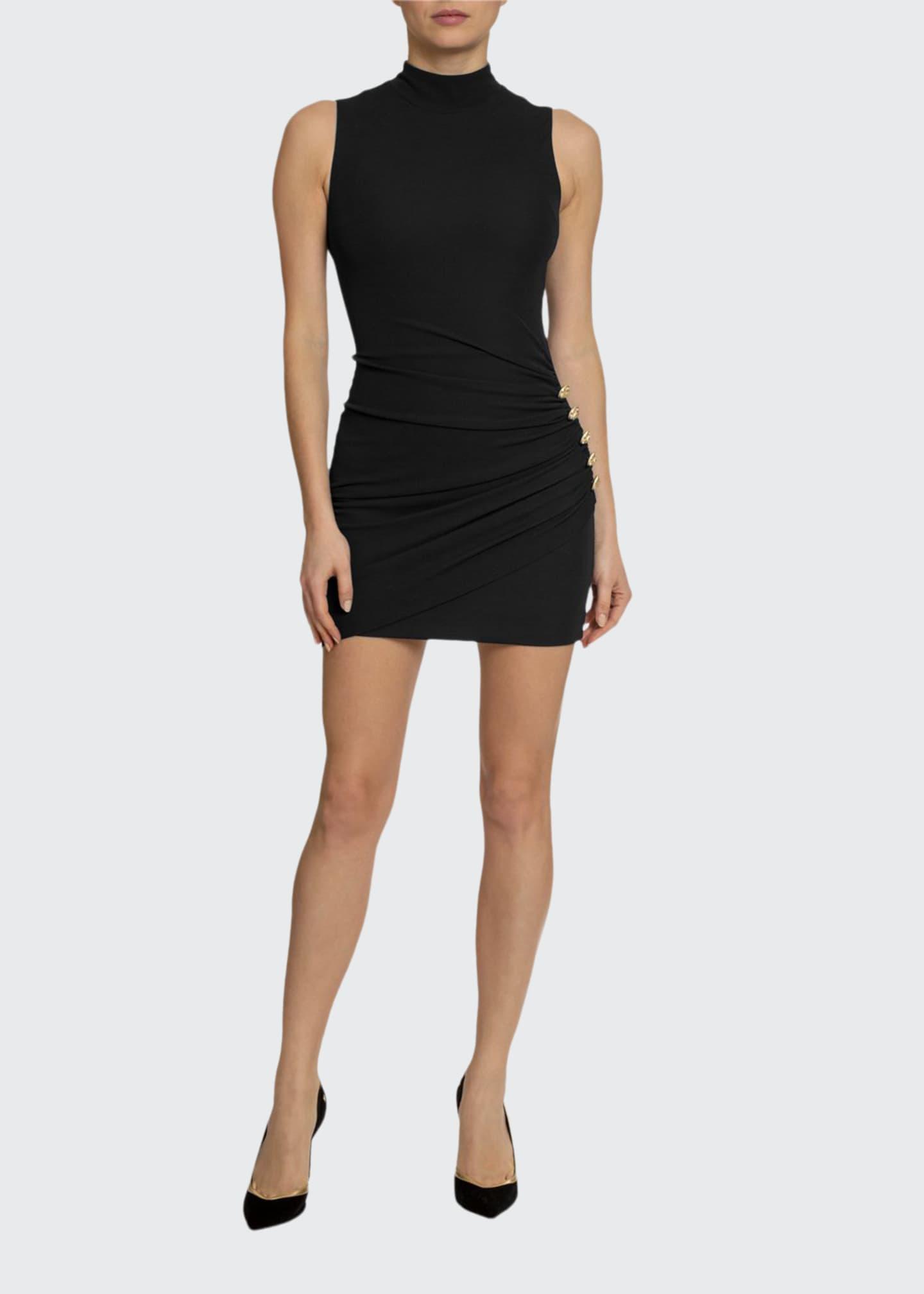 Balmain Ruched Button-Waist Cocktail Dress