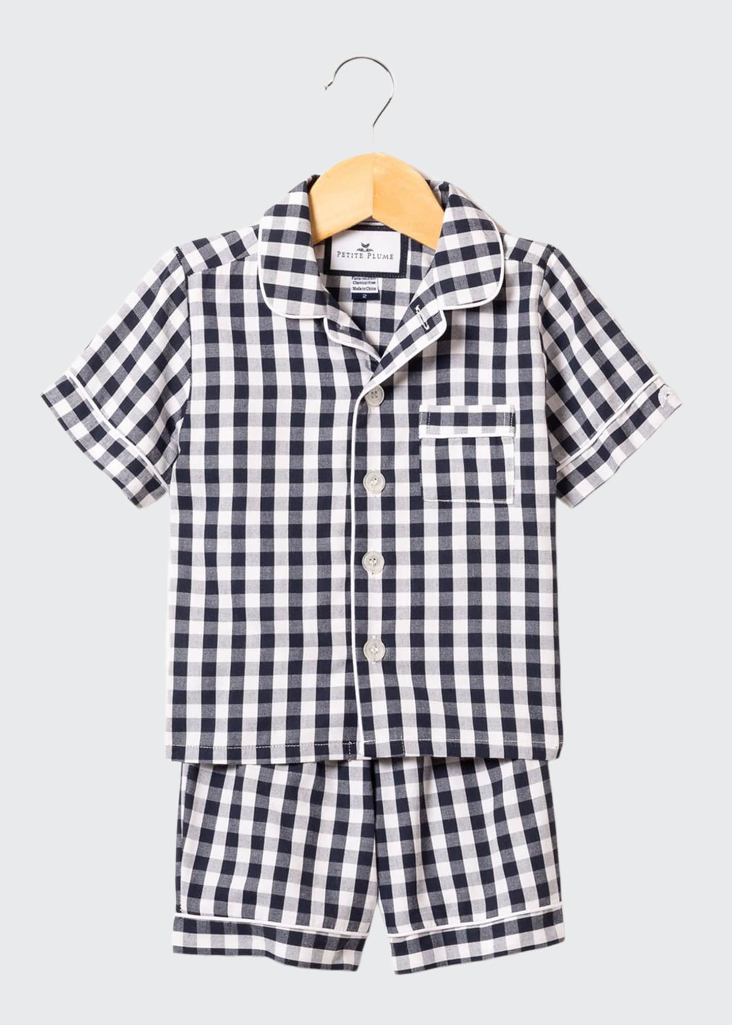 Image 1 of 1: Gingham Twill Pajama Set w/ Contrast Piping, Size 6M-14