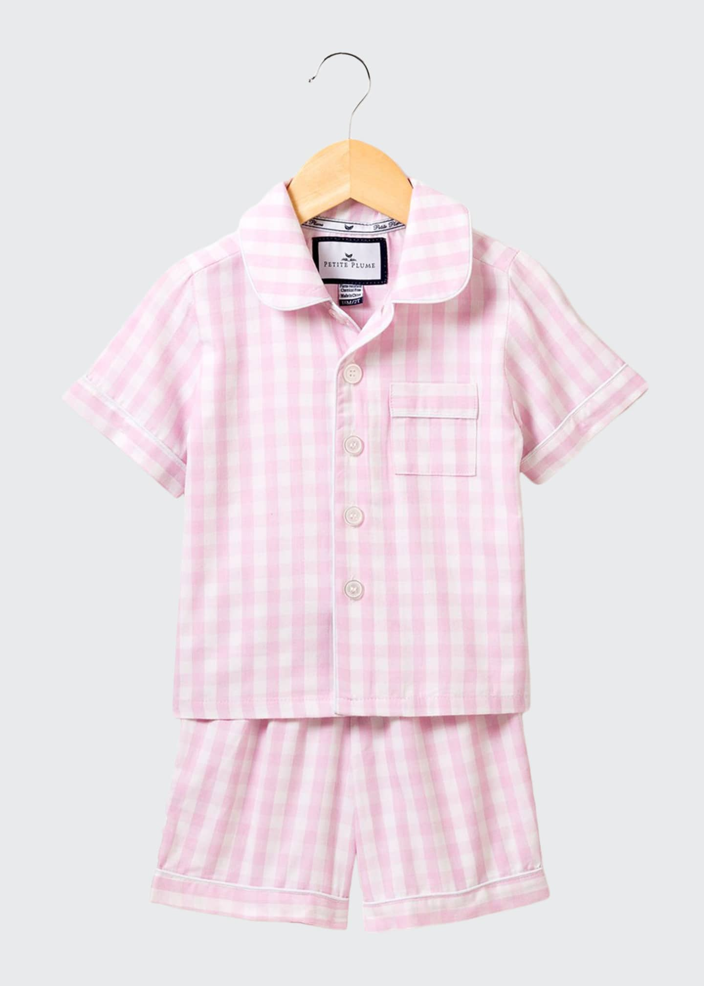 Image 1 of 1: Gingham Pajama Set w/ Contrast Piping, Size 6M-14