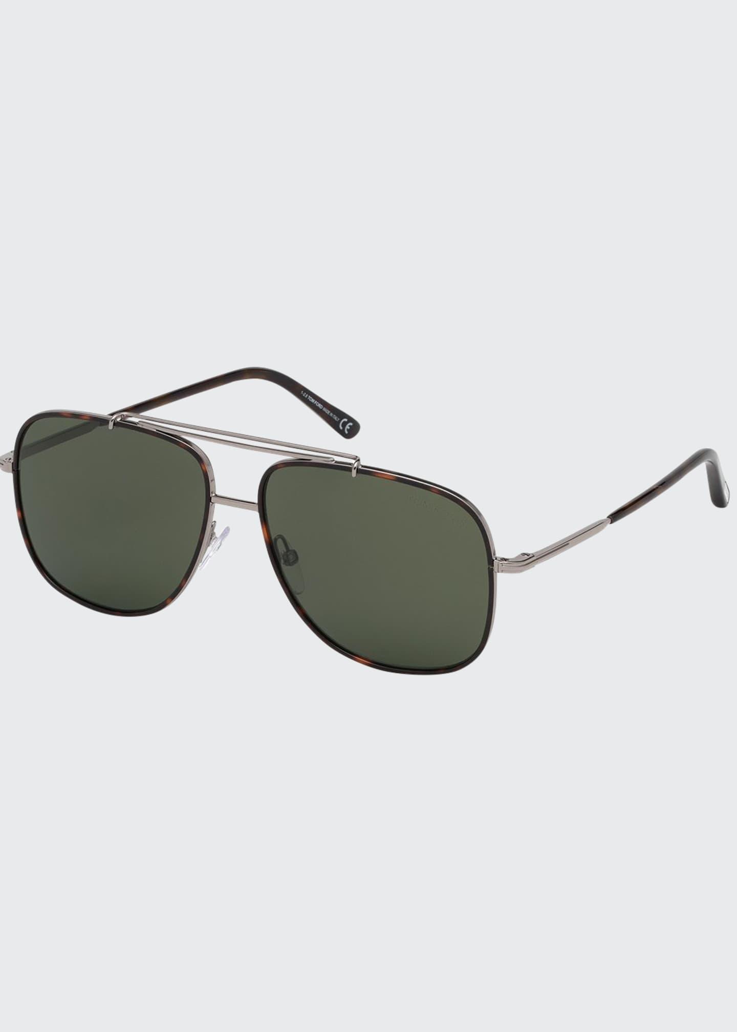 TOM FORD Men's Ruthenium Metal Aviator Sunglasses