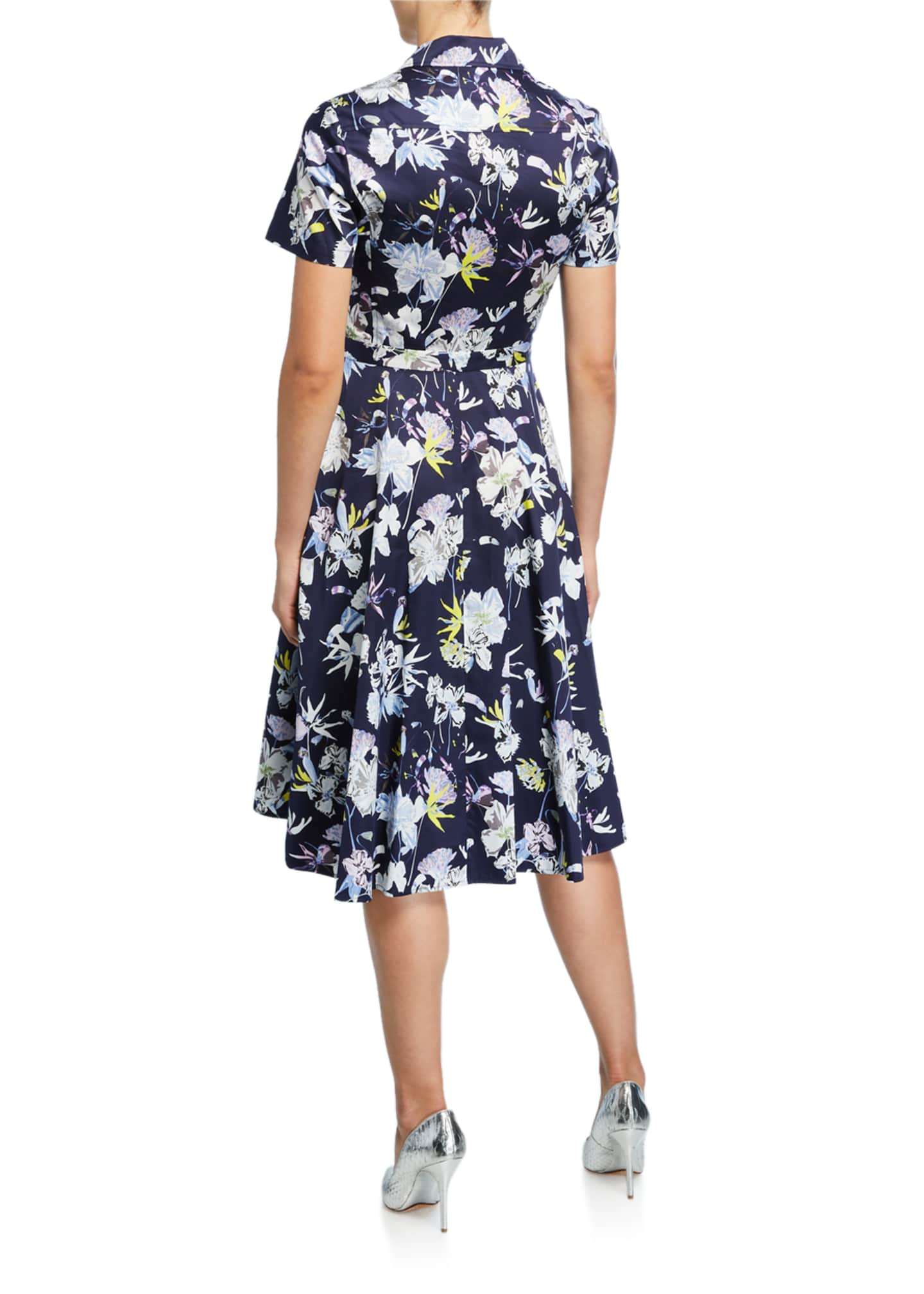 Image 2 of 2: Short-Sleeve Floral-Print Cotton Shirtdress