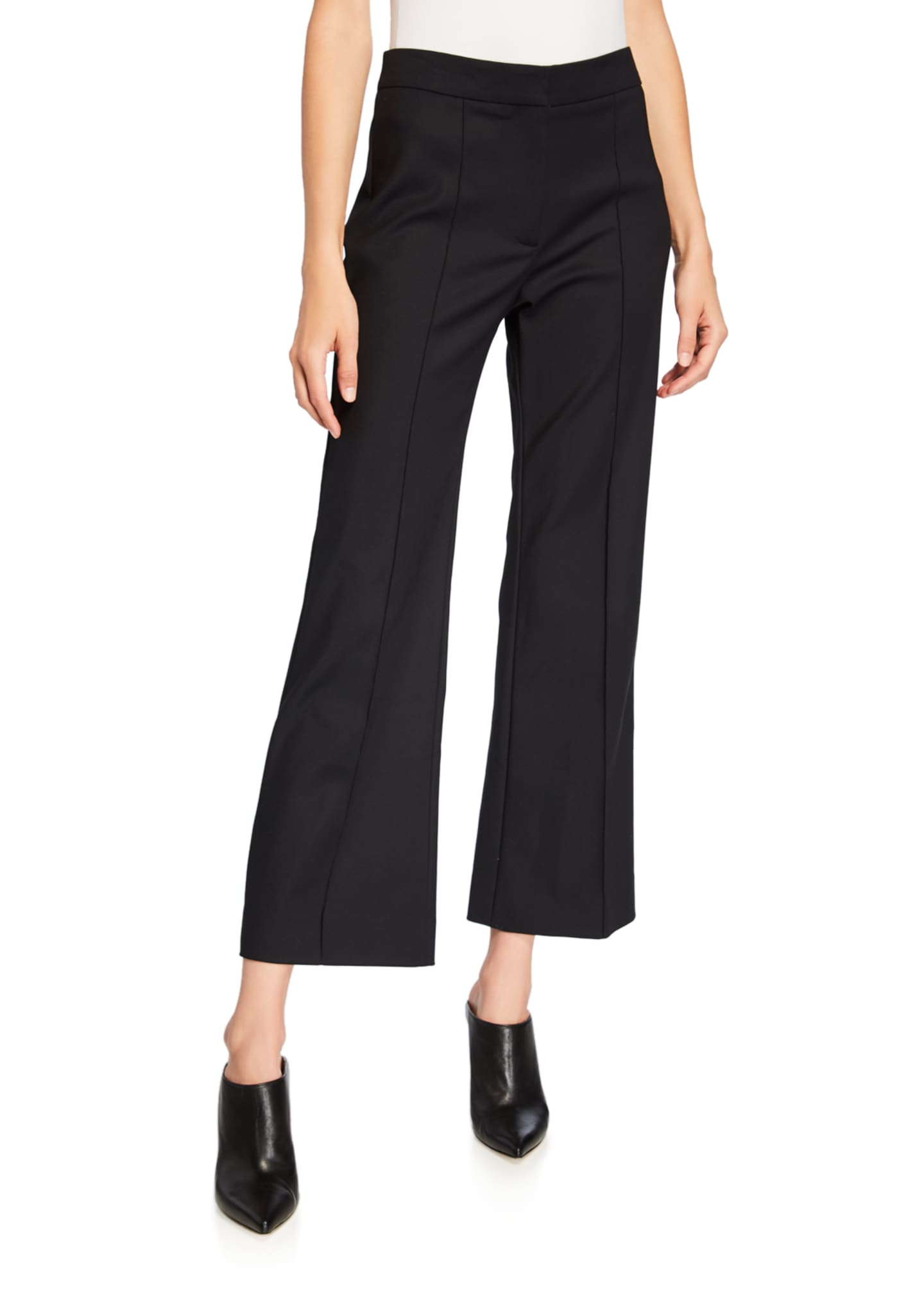 Derek Lam Cropped Pintucked Flare-Leg Trousers