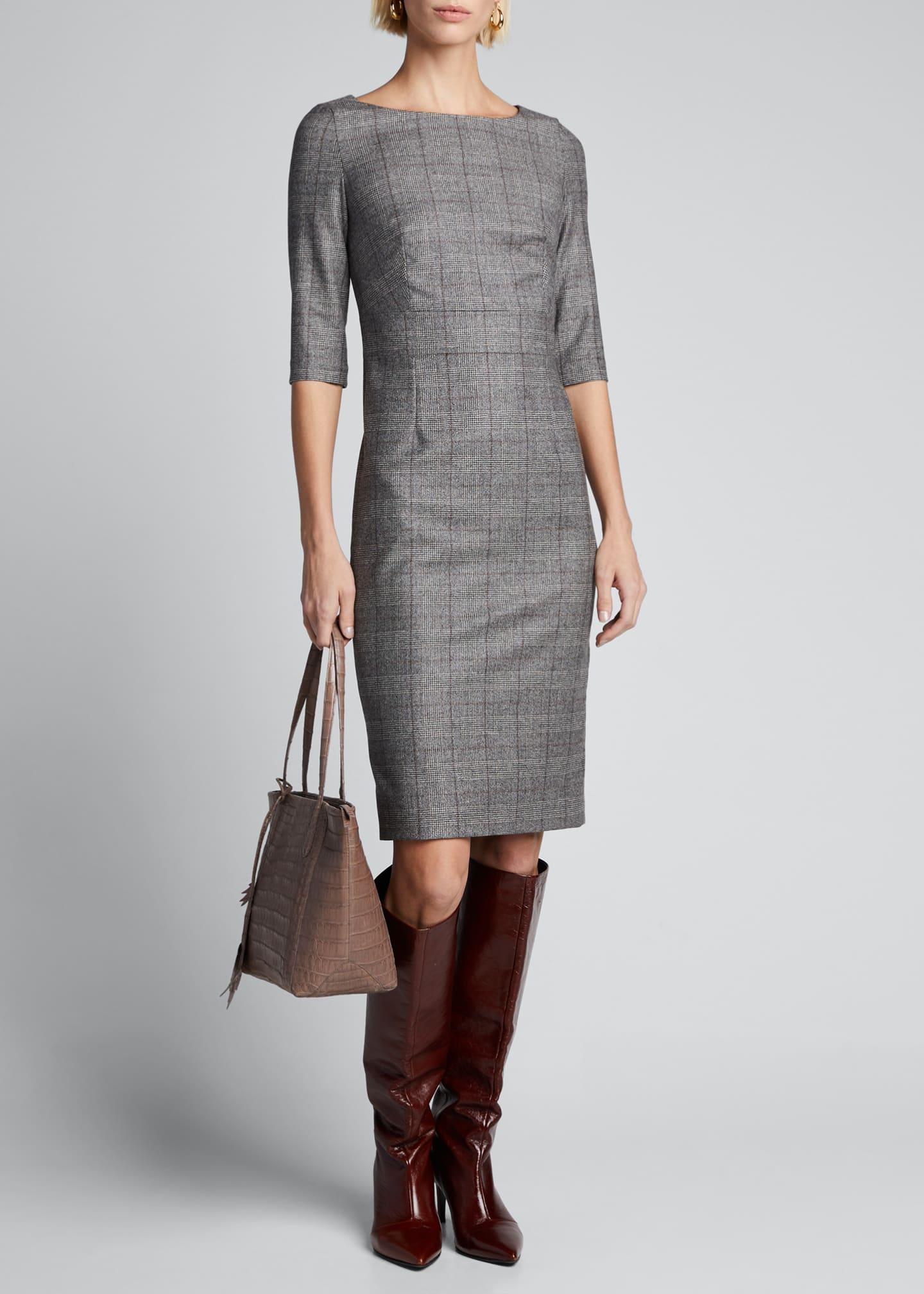 Kiton Half-Sleeve Check Dress