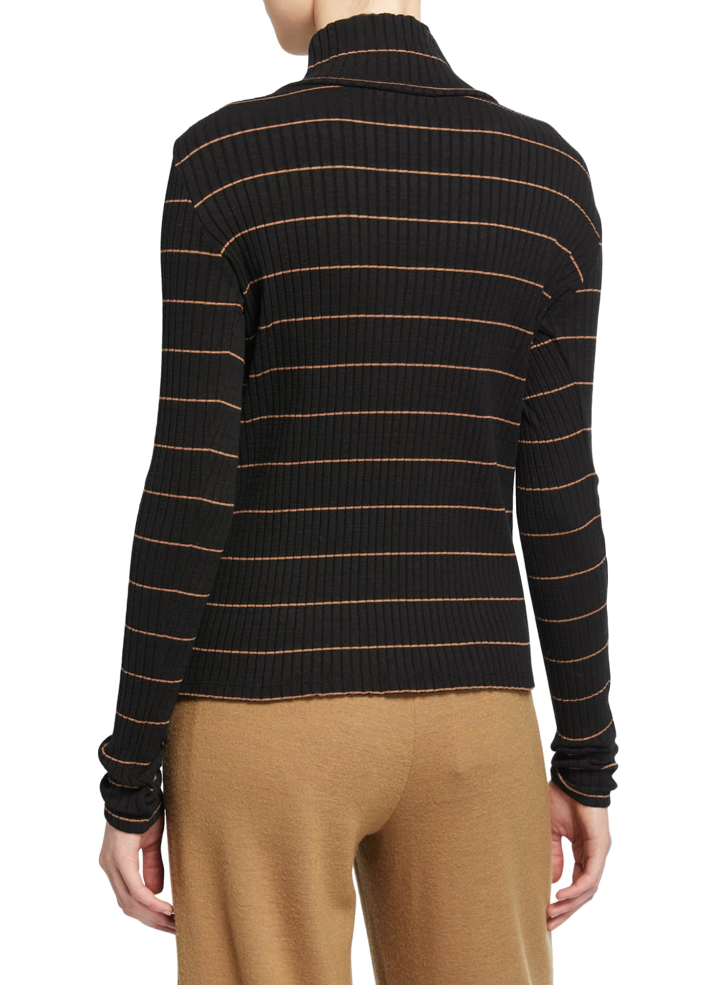 Image 2 of 2: Striped Rib Turtleneck Pullover