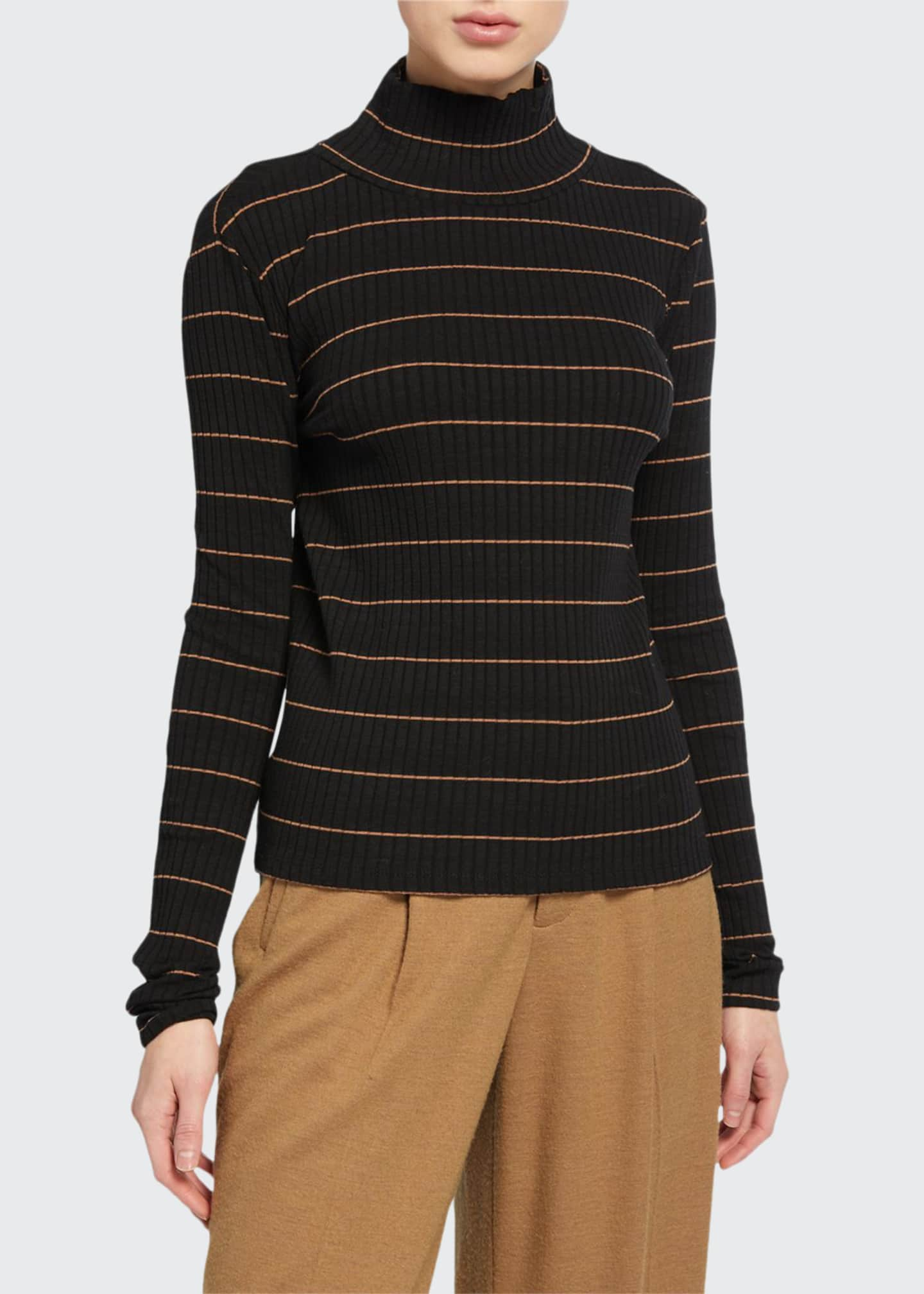 Image 1 of 2: Striped Rib Turtleneck Pullover