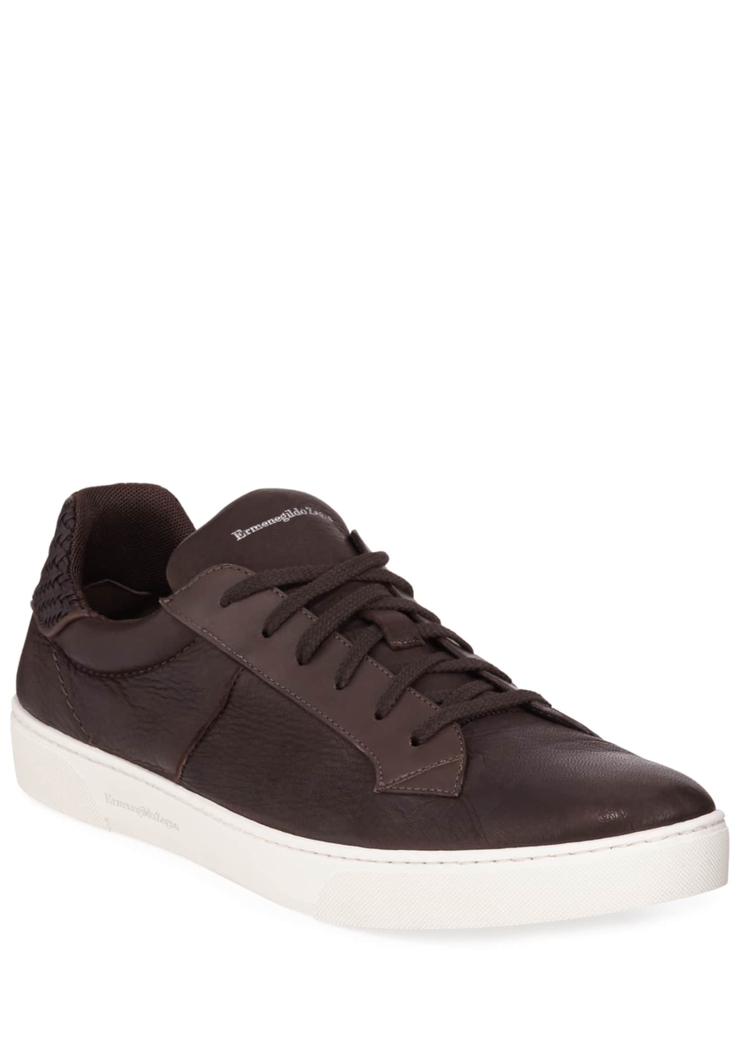 Ermenegildo Zegna Men's Vulcanizzato Deerskin Leather Low-Top