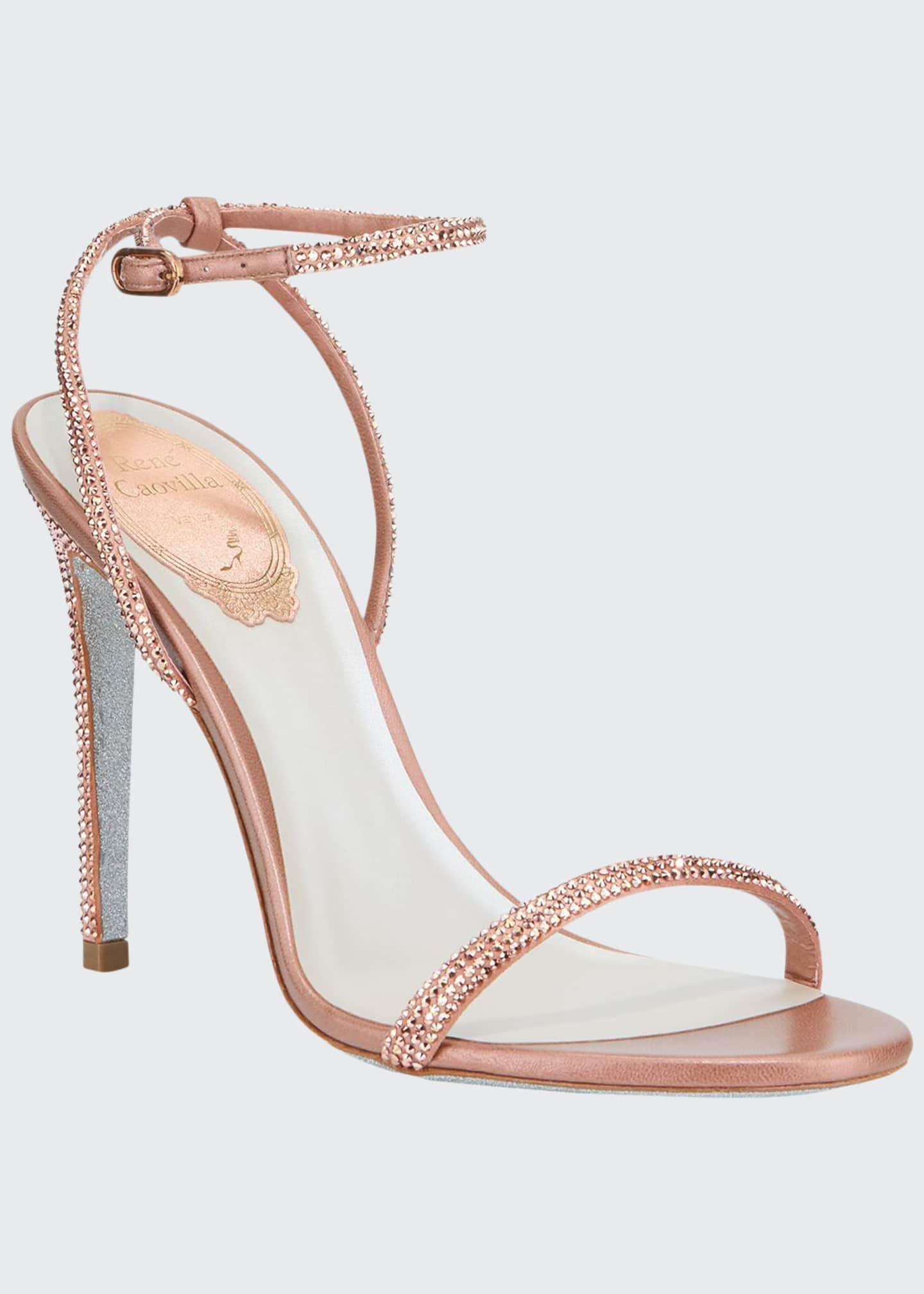 Rene Caovilla Ellabrita Crystal Satin Ankle-Strap Sandals