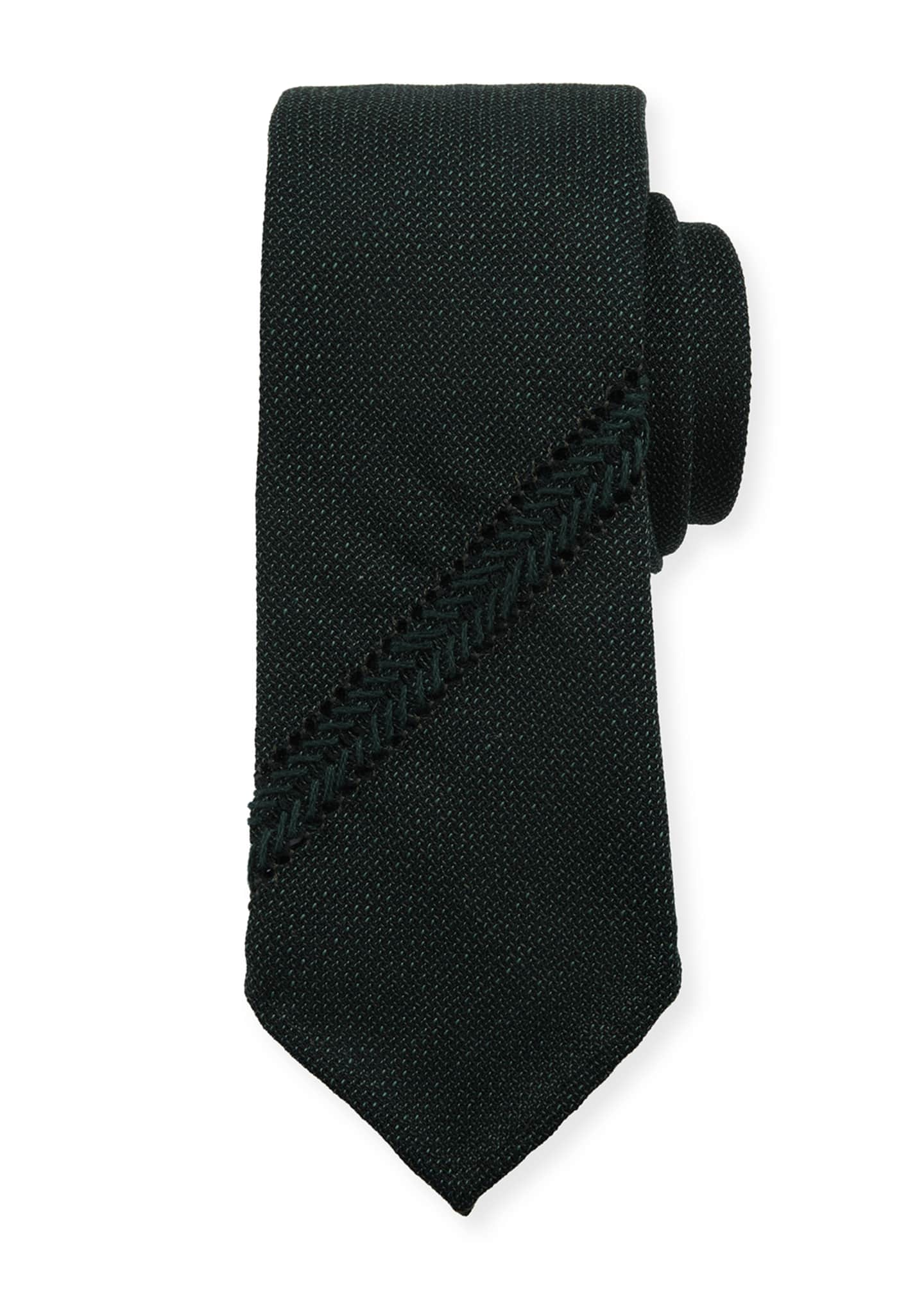 Image 1 of 1: Hopsack Knit Tie w/ Diagonal Stripe, Teal