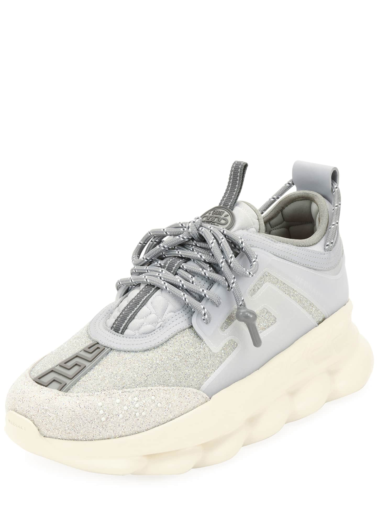 Versace Men's Crystal Chain Reaction Caged Sneakers